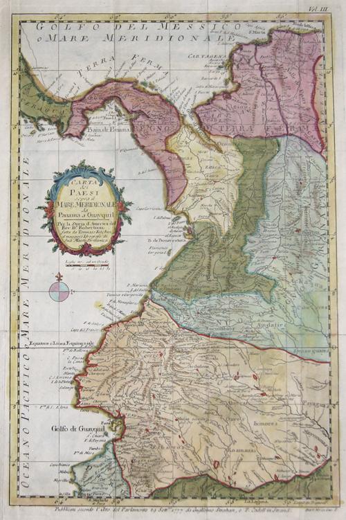 Kitchin (Kitchen)  Carta die Paesi sopra il Mabe Meridionale da Panama a Guayquil