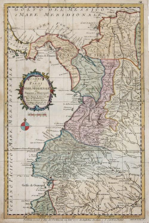Robertson  Carta die Paesi sopra il Mare Meridionale da Panama a Guayquil.