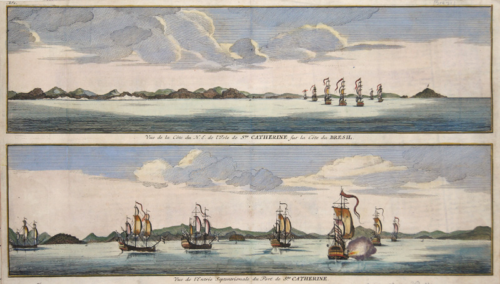 Anson Georg Vue de la Cote du N.E. de l'Isle de Ste. Catherine sur la Cote du Bresil. Vue de l'Entree Septentrionale du Port de Ste. Catherine.