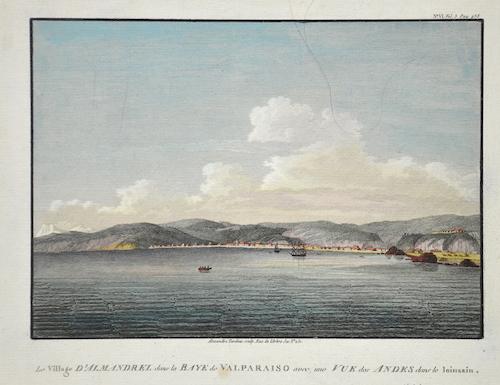 Tardieu Alexandre Le Village D'Almandrel dans la Baye de Valparaiso avec une Vue des Andes dans le Joinsain.