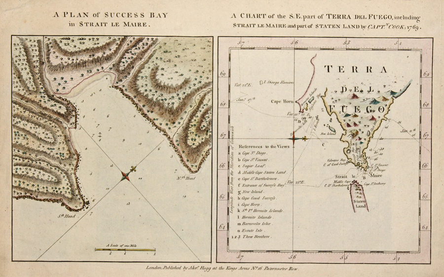 Hogg Alexander A Plan of Success Bay in Strait le Maire.  A Chart of the S.E. part of Terra del Fuego, including Strait le Maire and part of Staten Land by Capt Cook