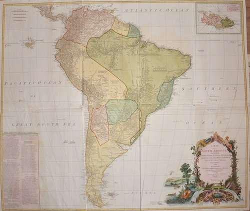 Anville´d  A Map of South America Containing Tierra-Firma, Guayana, New Granada, Amazonia, Brasil, Peru, Paraguay, Chaco, Tucuman, Chili and Patagonia.