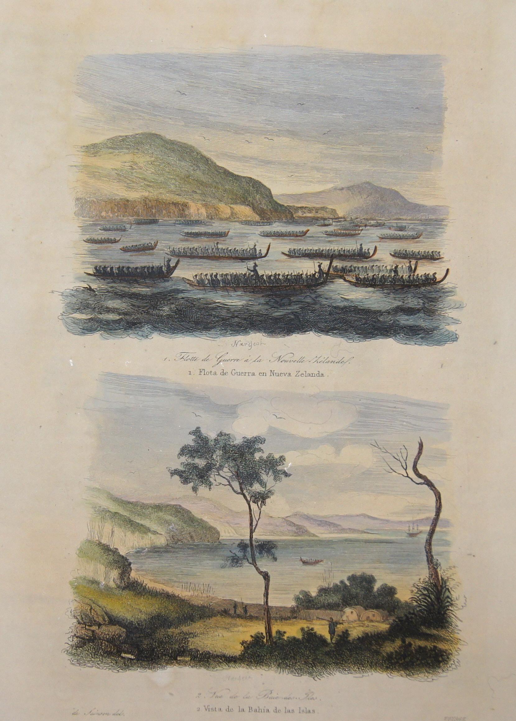 Sainson de  1. Flota de Guerra en Nueva Zelanda. 2. Vista de la Bahia de las Islas.