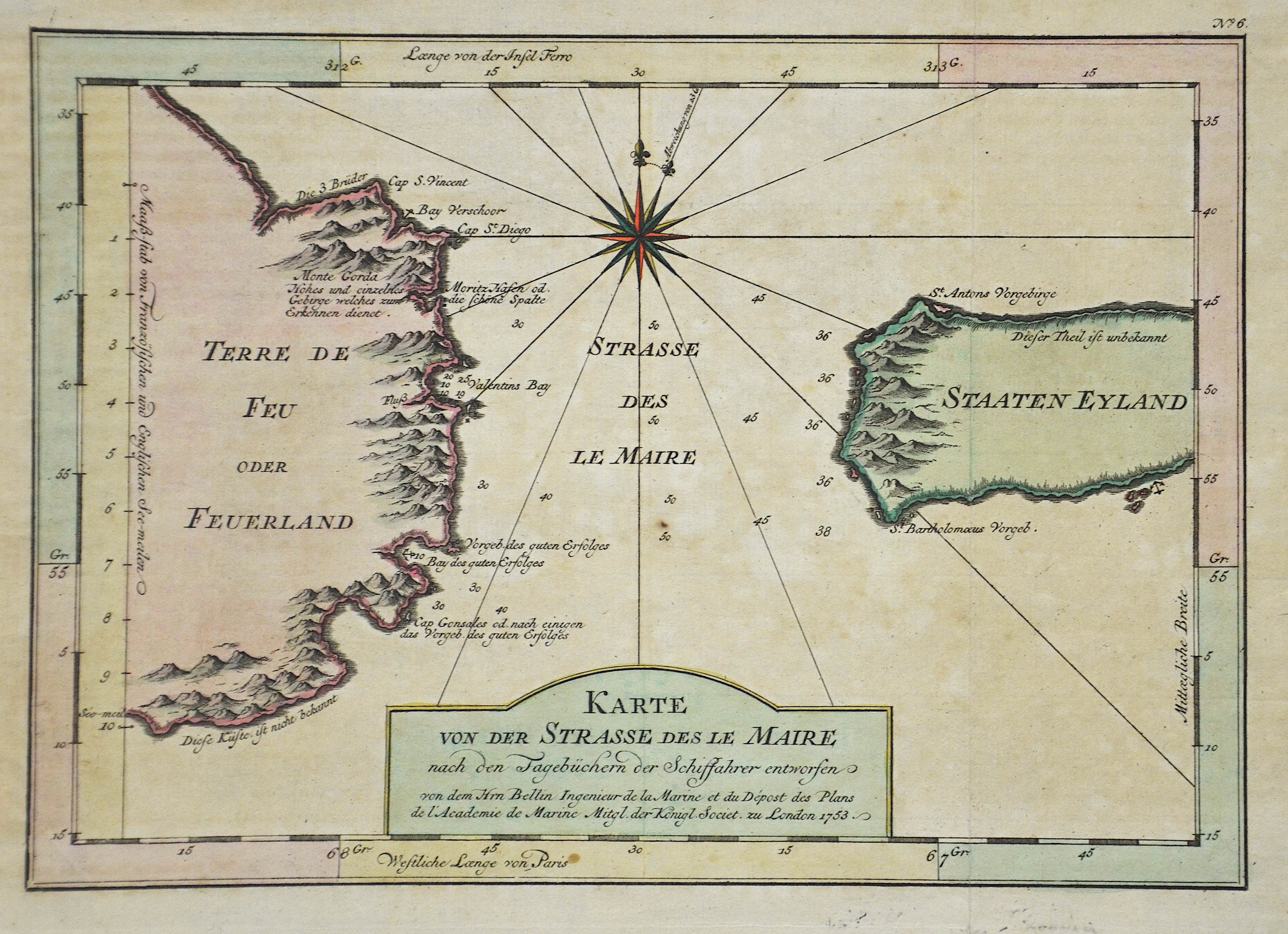 Bellin  Carte Réduite du Détroit de Magellan
