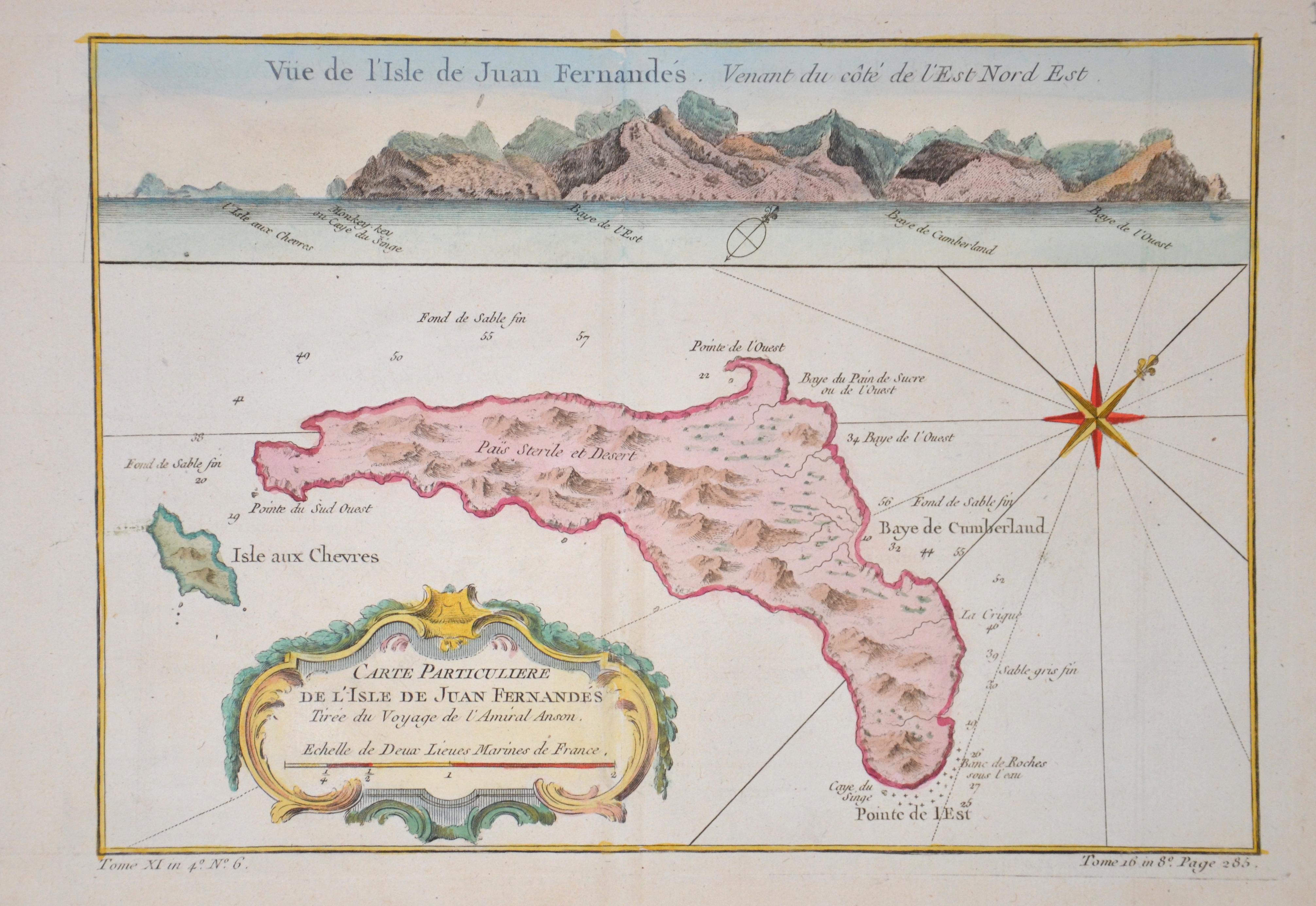 Bellin  Carte Particuliere de l'isle de Juan Fernandés Tirée du Voyage de l'Amiral Anson.