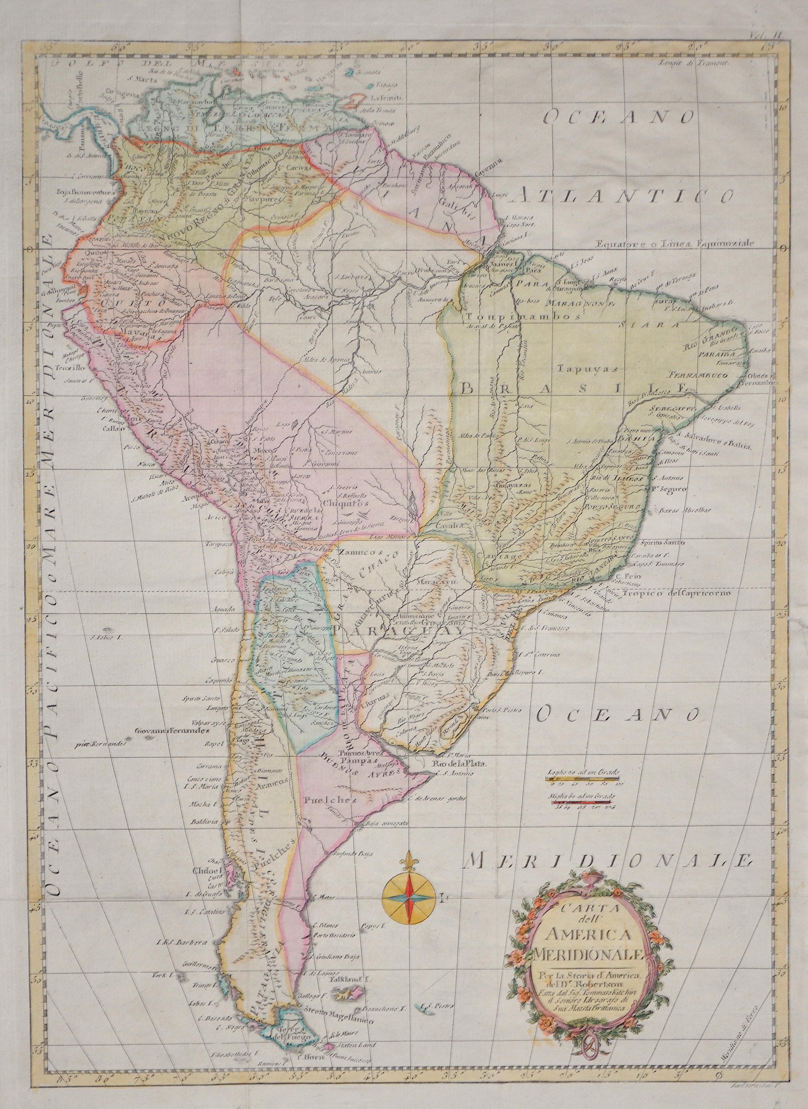Robertson/ Kitchen  Carta dell America Meridionale. Per la Storia d'America del De. Roberston