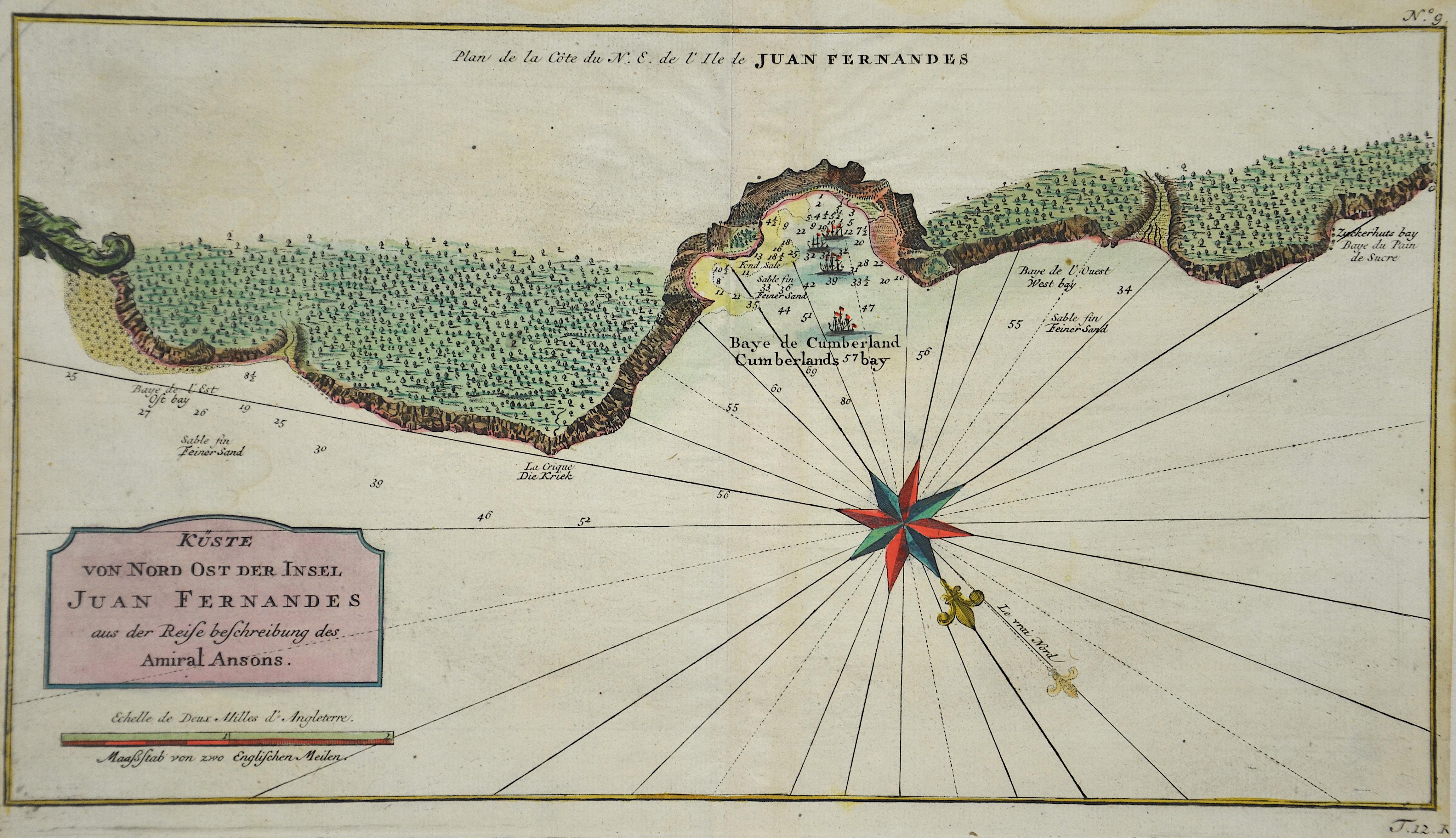 Bonne  Küste von Nord Ost der Insel Juan Fernandes aus der Reisebeschreibung des Amiral Ansons.