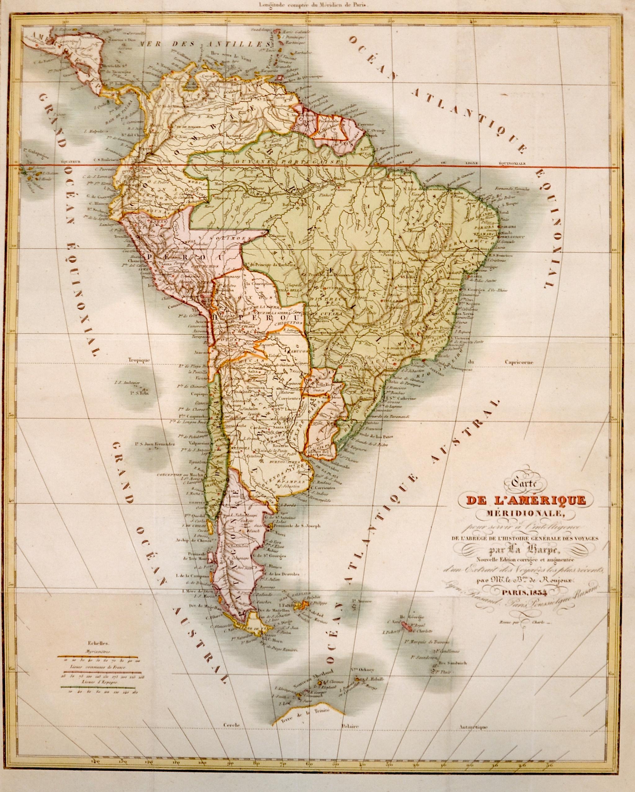 Anonymus  Carte de l'Amérique Méridionale, pour servir à l'intelligence. De l'Abrégé de l'Histoire Genérale des Voyages par La Harpe,