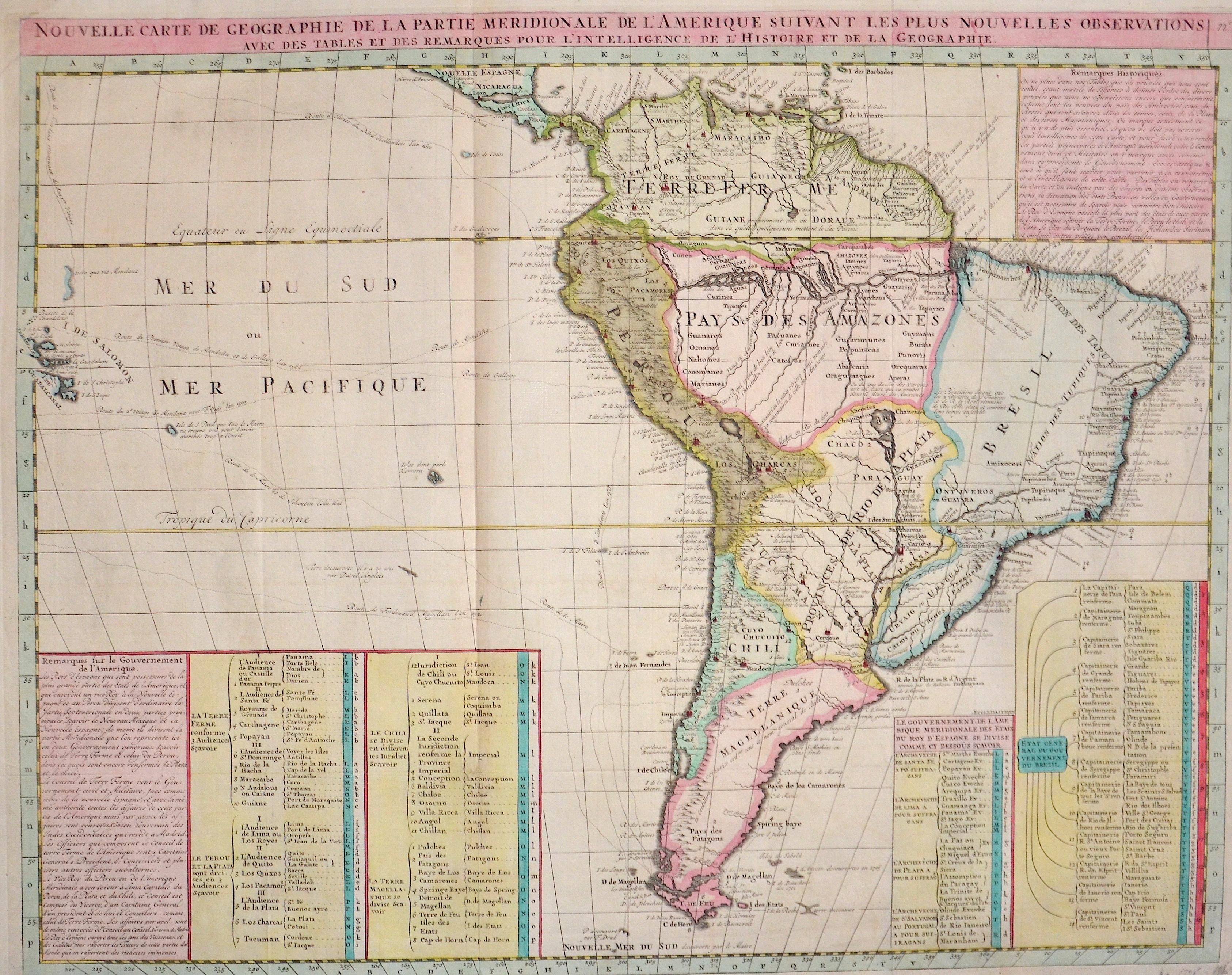 Chatelain  Nouvelle Carte de Geographie de la Partie Meridionale de l'Amerique suivant les plus nouvelles observations..