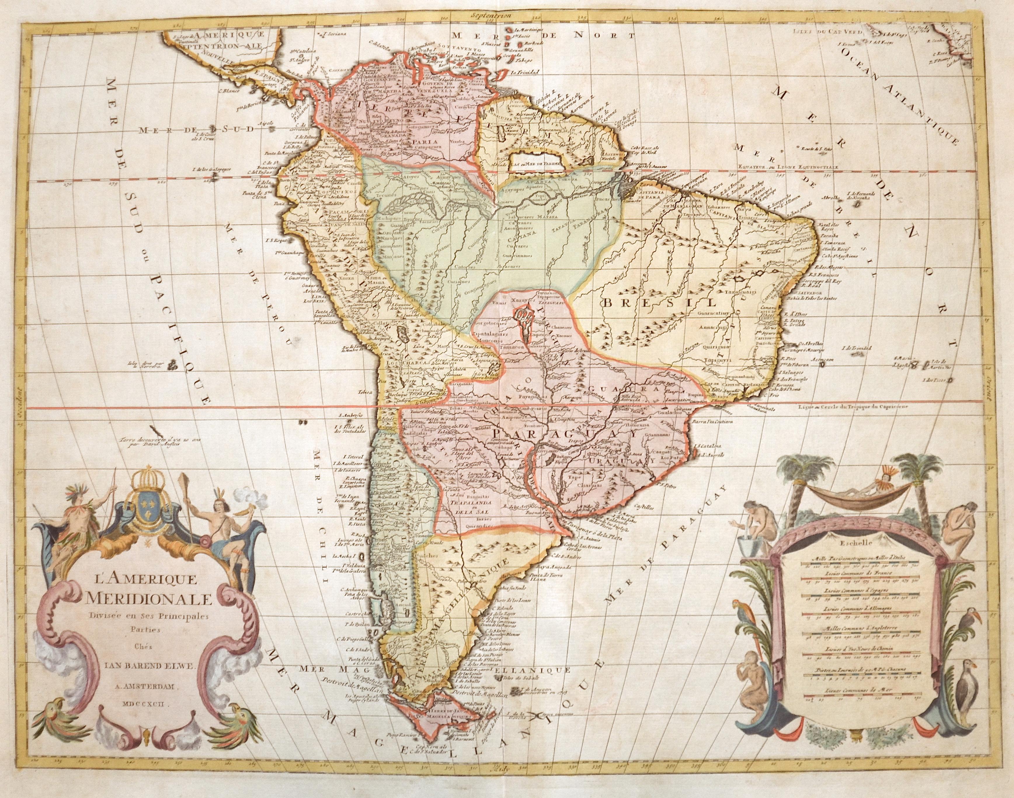 Elwe  L'Amerique Meridionale Divisée en ses Principales Parties.
