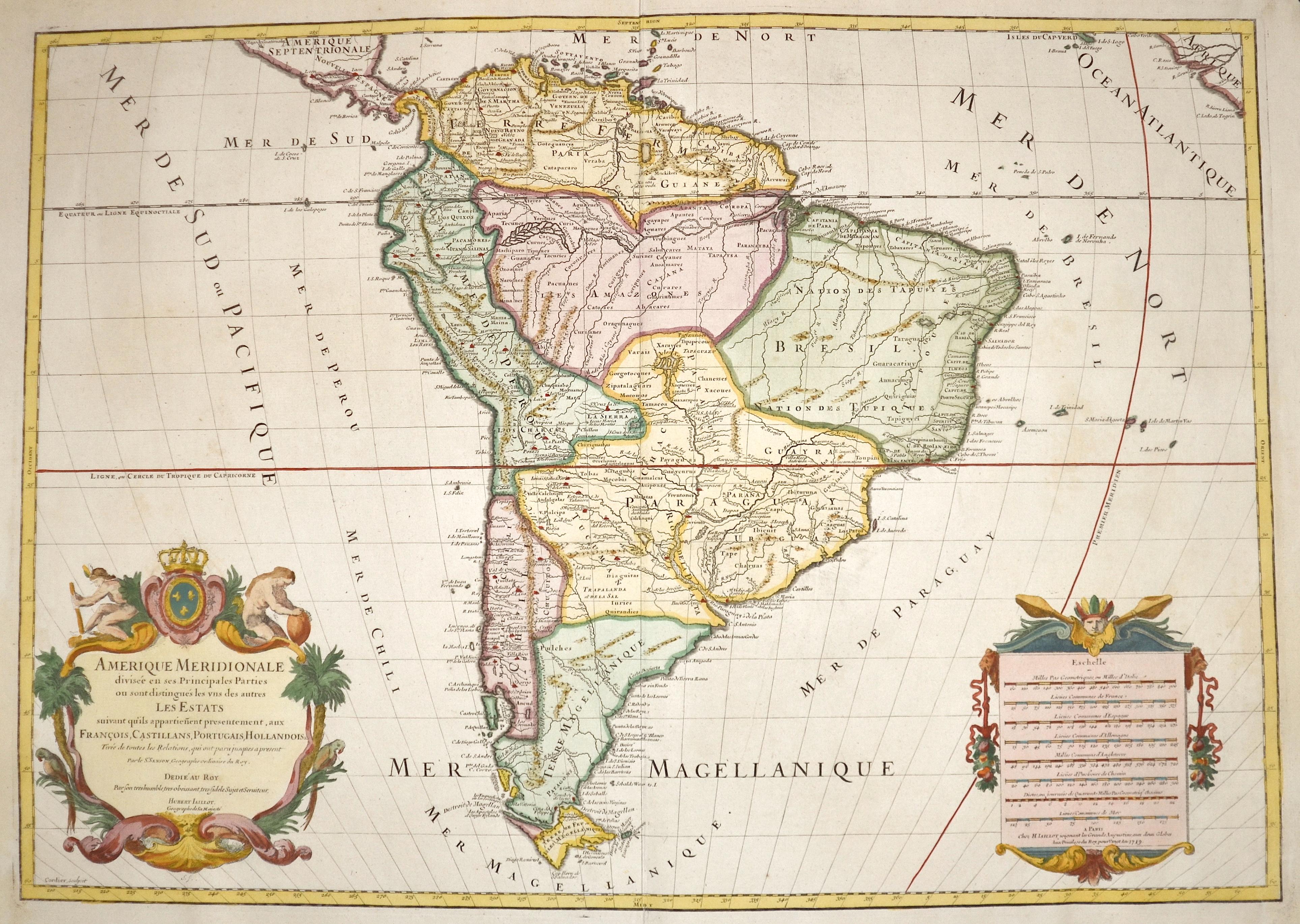 Jaillot/ Sanson  Amerique Meridionale divisée en ses Principales Parties ou sont distingués les uns des autres les Estats..