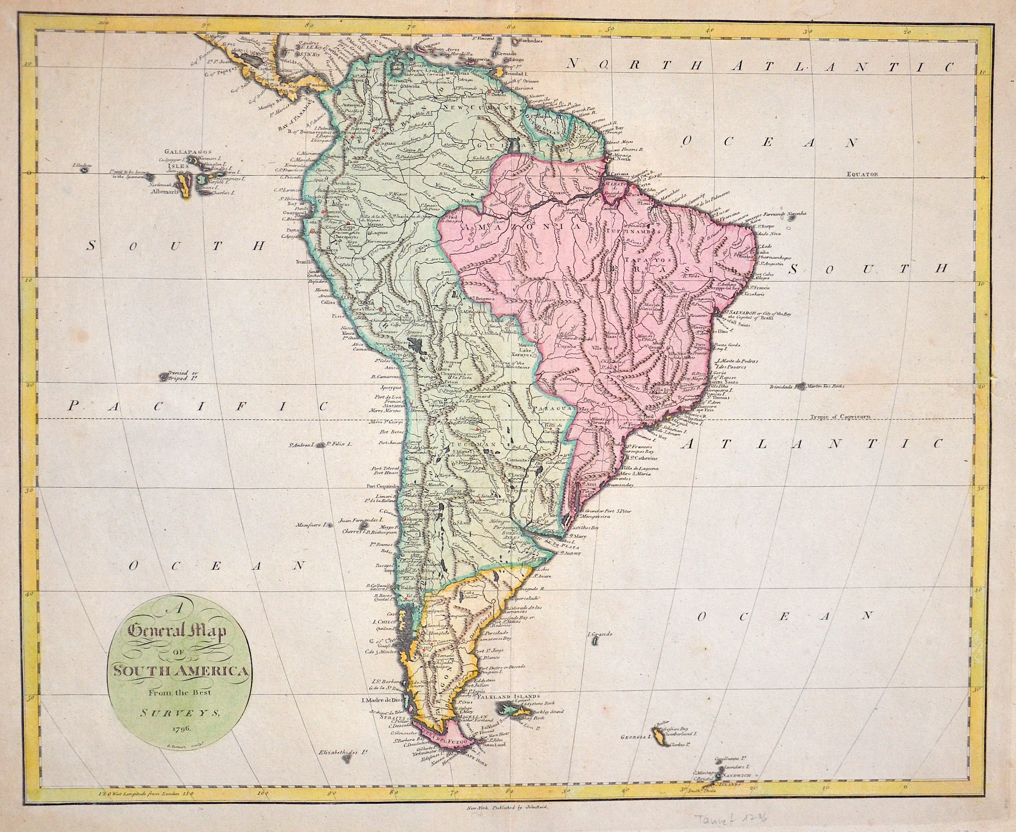 Tanner  A General Map of South America From the Best Surveys.