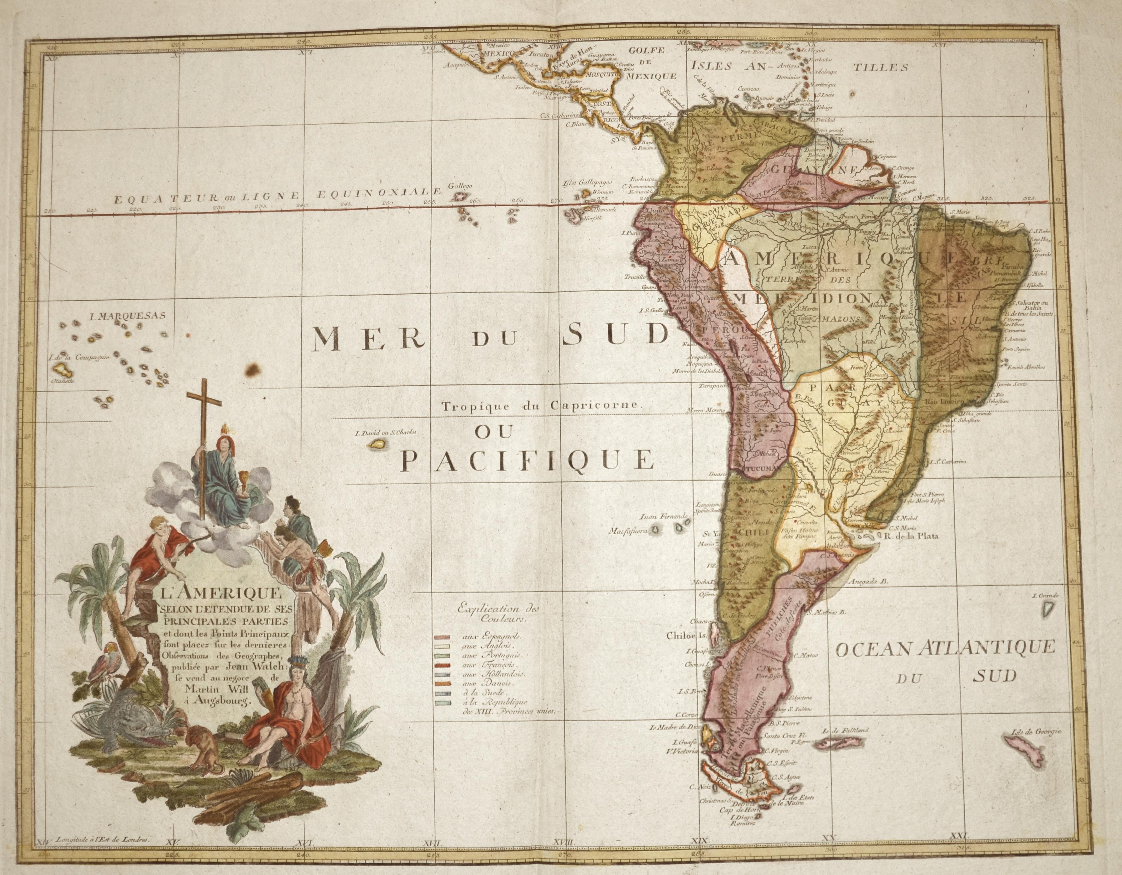 Walch  L'Amerique selon l'Etendue de ses Principales Parties et dont les Ponts Principaux ..