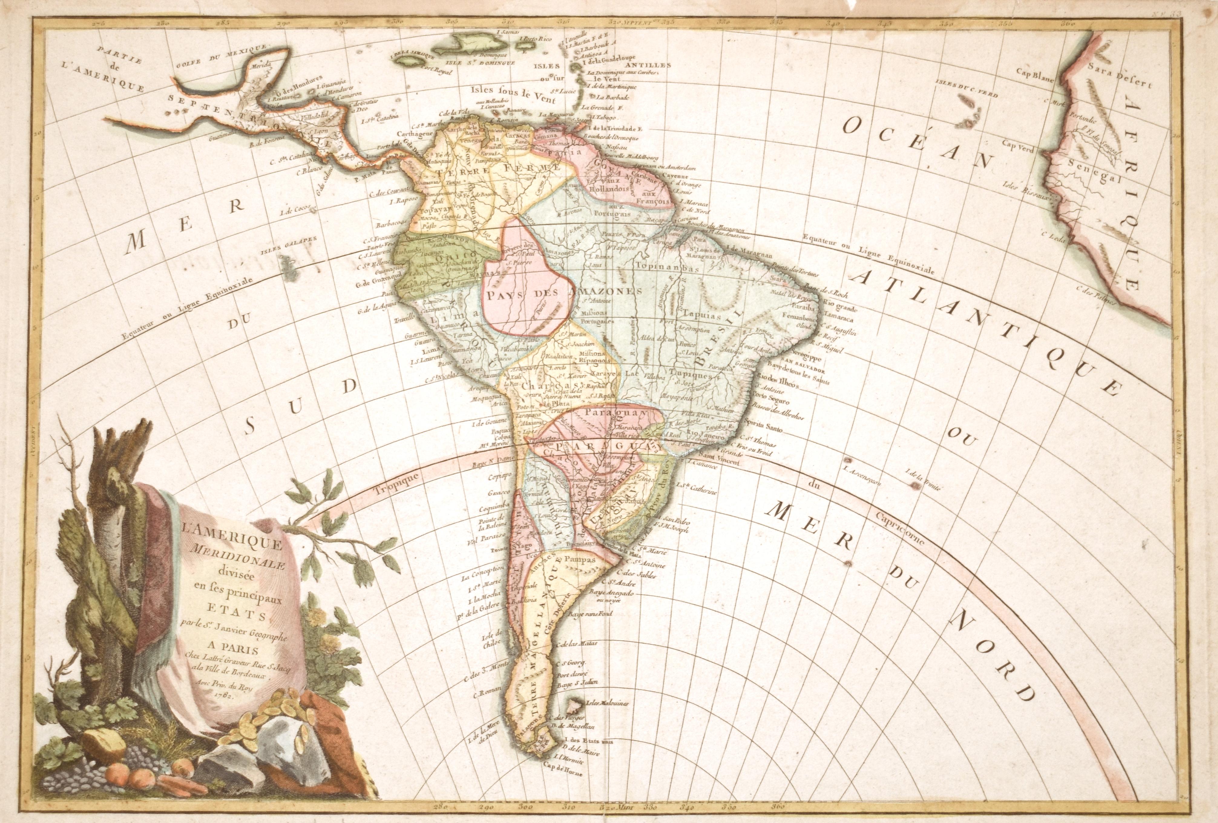 Janvier Sieur  L'Amerique Meridionale divisée en ses principaux Etats..