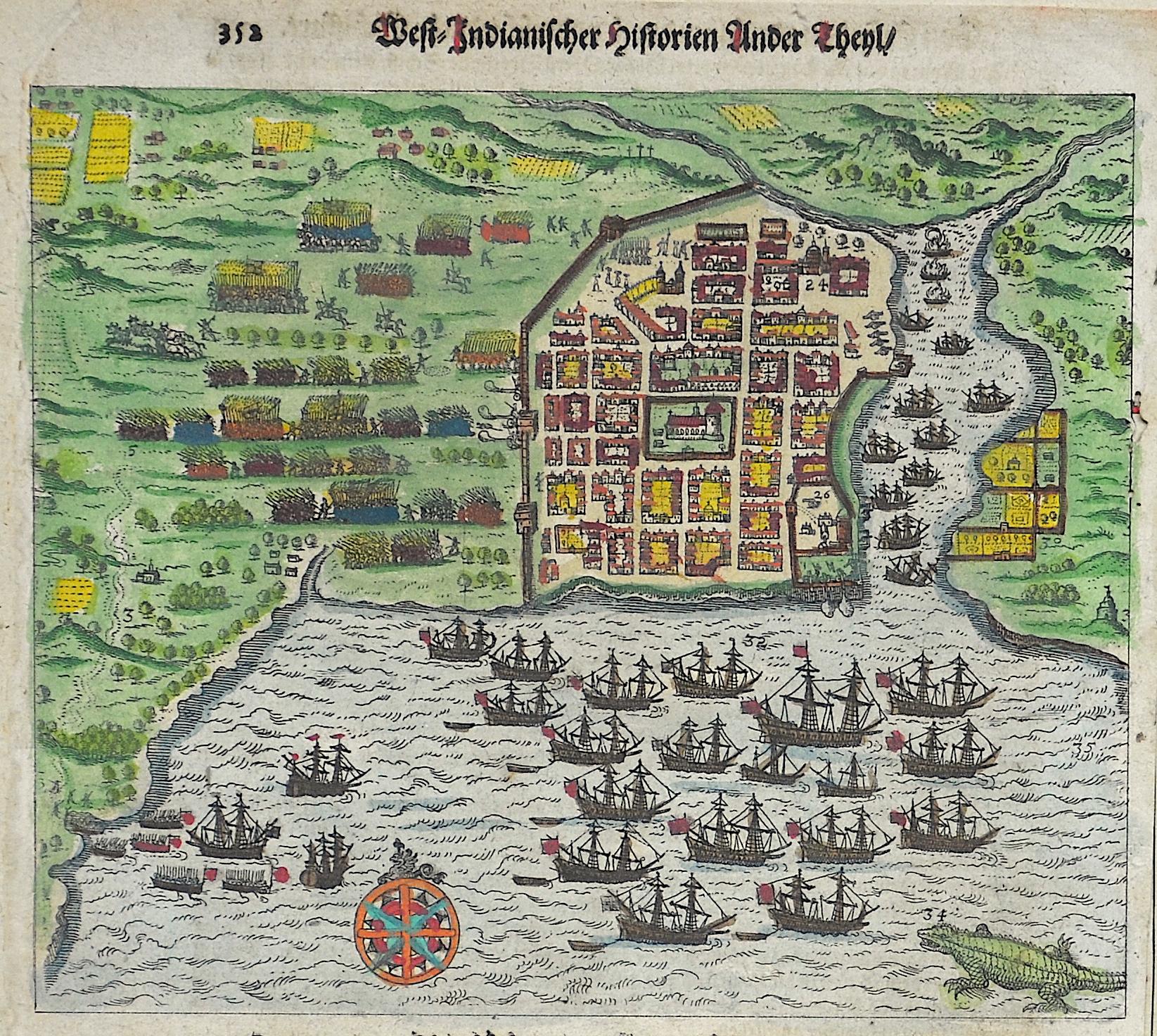 Bry, de  West-Indianischer Historien Ander Theyl / Die Statt Carthagena ohn widerstand eingenommen.