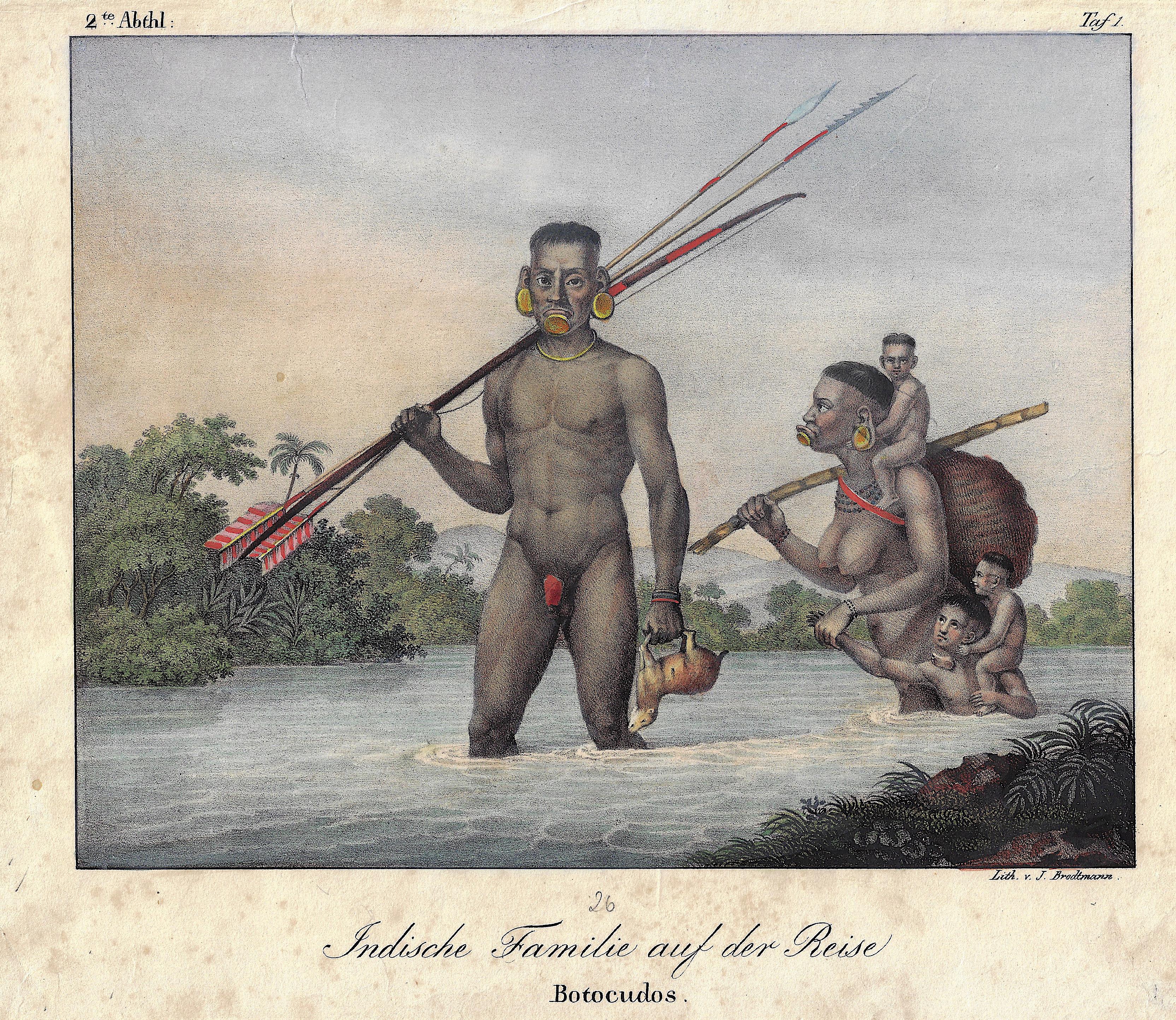 Brodtmann Karl Joseph Indische Familie auf der Reise / Botocudos.