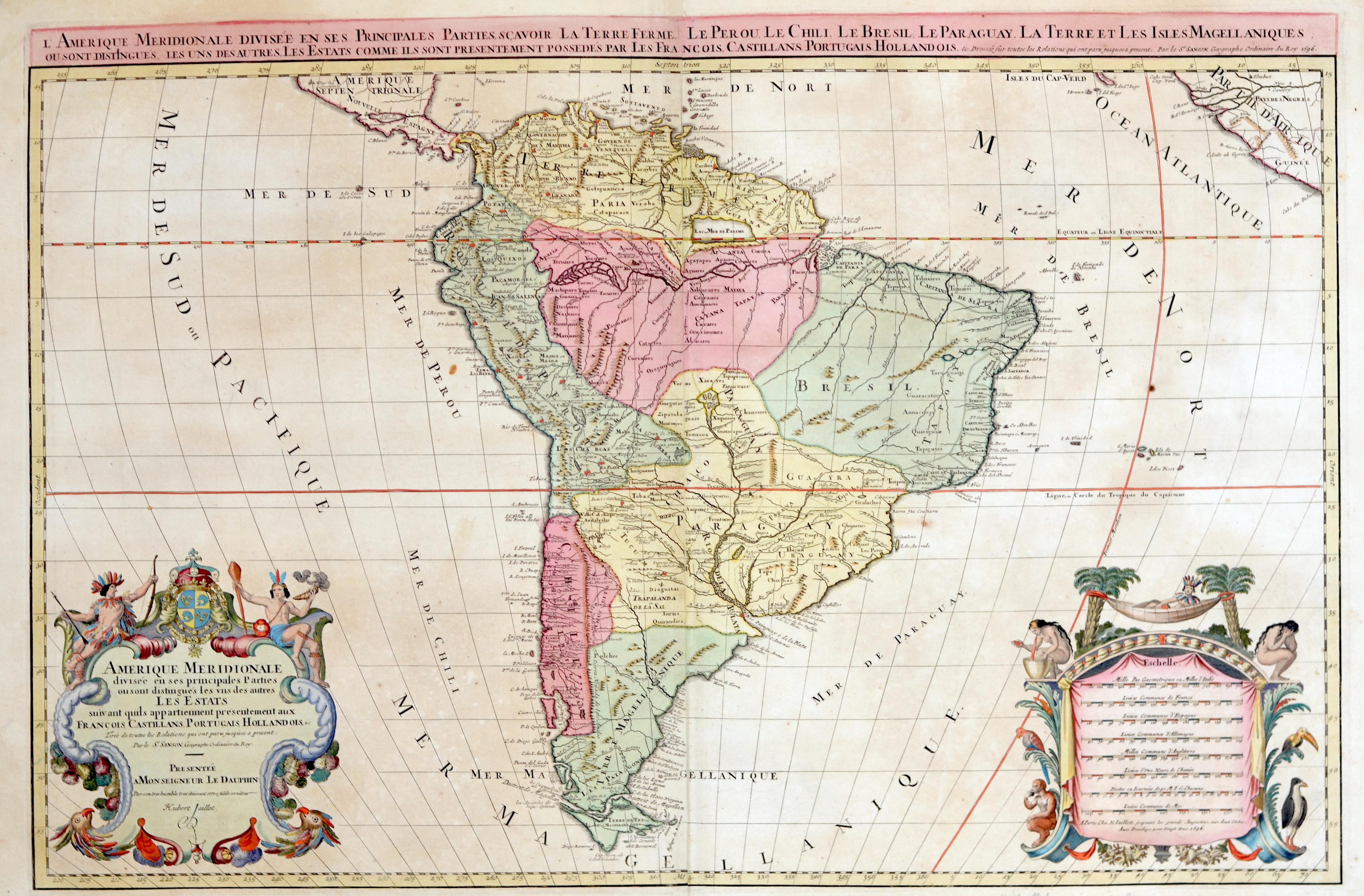 Sanson/ Jaillot, Charles Hubert Nicolas Amerique meridionale divisee en ses principales Parties ou sont distingues les uns des autres Les Estats