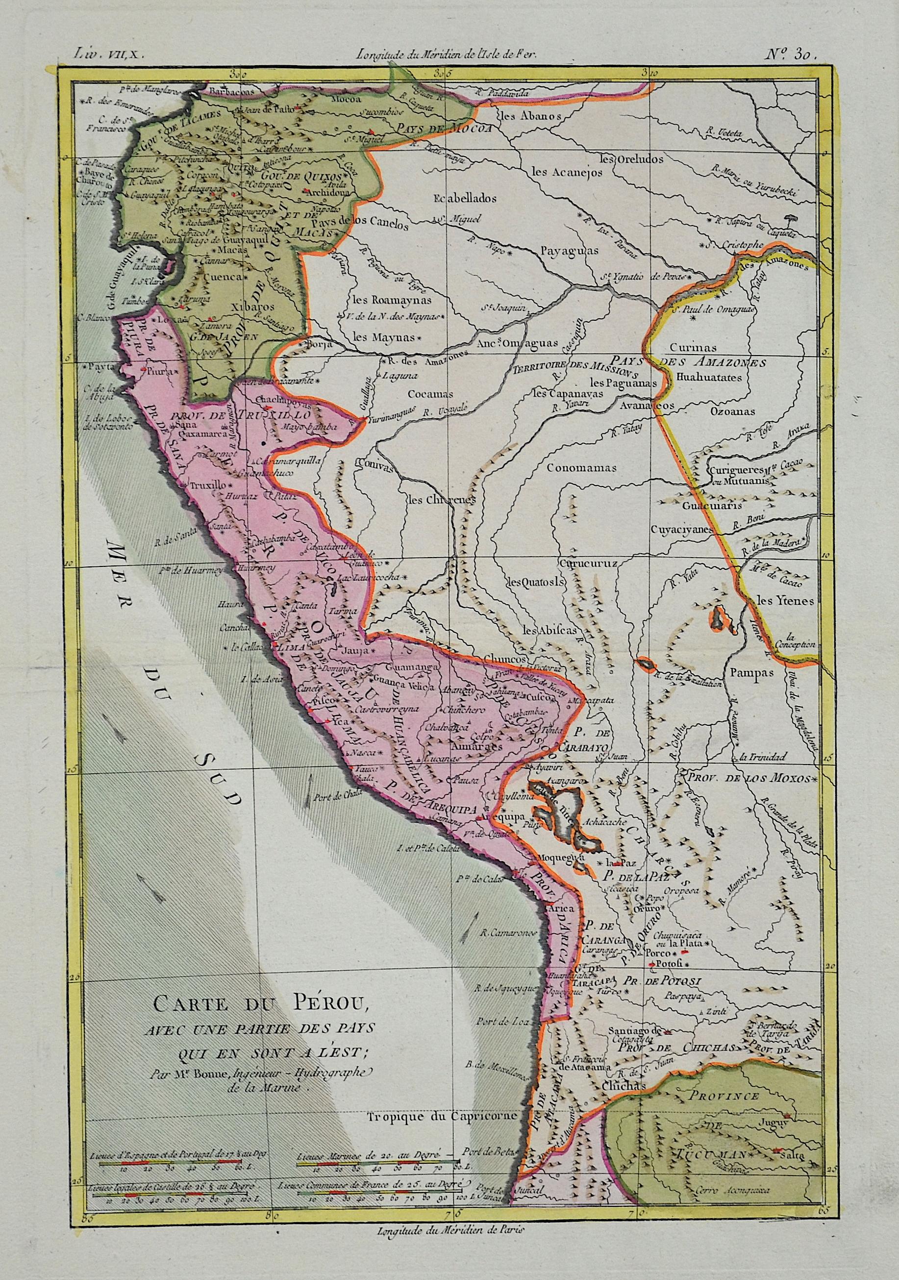 Bonne  Carte du Perou avec un partie des pays qui en sont a l´est