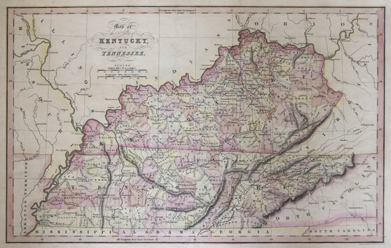 Hinton/Simpkin & Marshall L. T. Map of the States of Kentucky, and Tennessee.