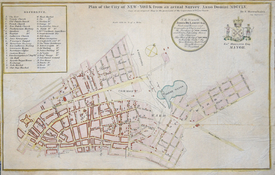 Anonymus  Plan of the City of New York from an actual Survey. Anno Domini. MDCCLV.