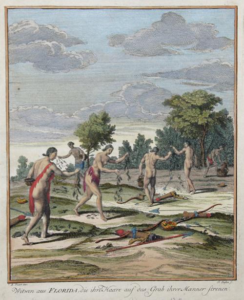 Picart Bernard Witwen aus Florida, die ihre Haare auf das Grab ihrer Maenner strenen.