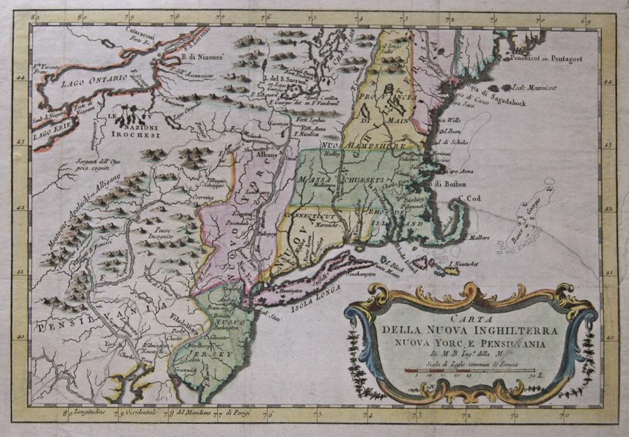Bonne Rigobert Carta della nuova inghilterra nuova Yorc, e Pensilvania