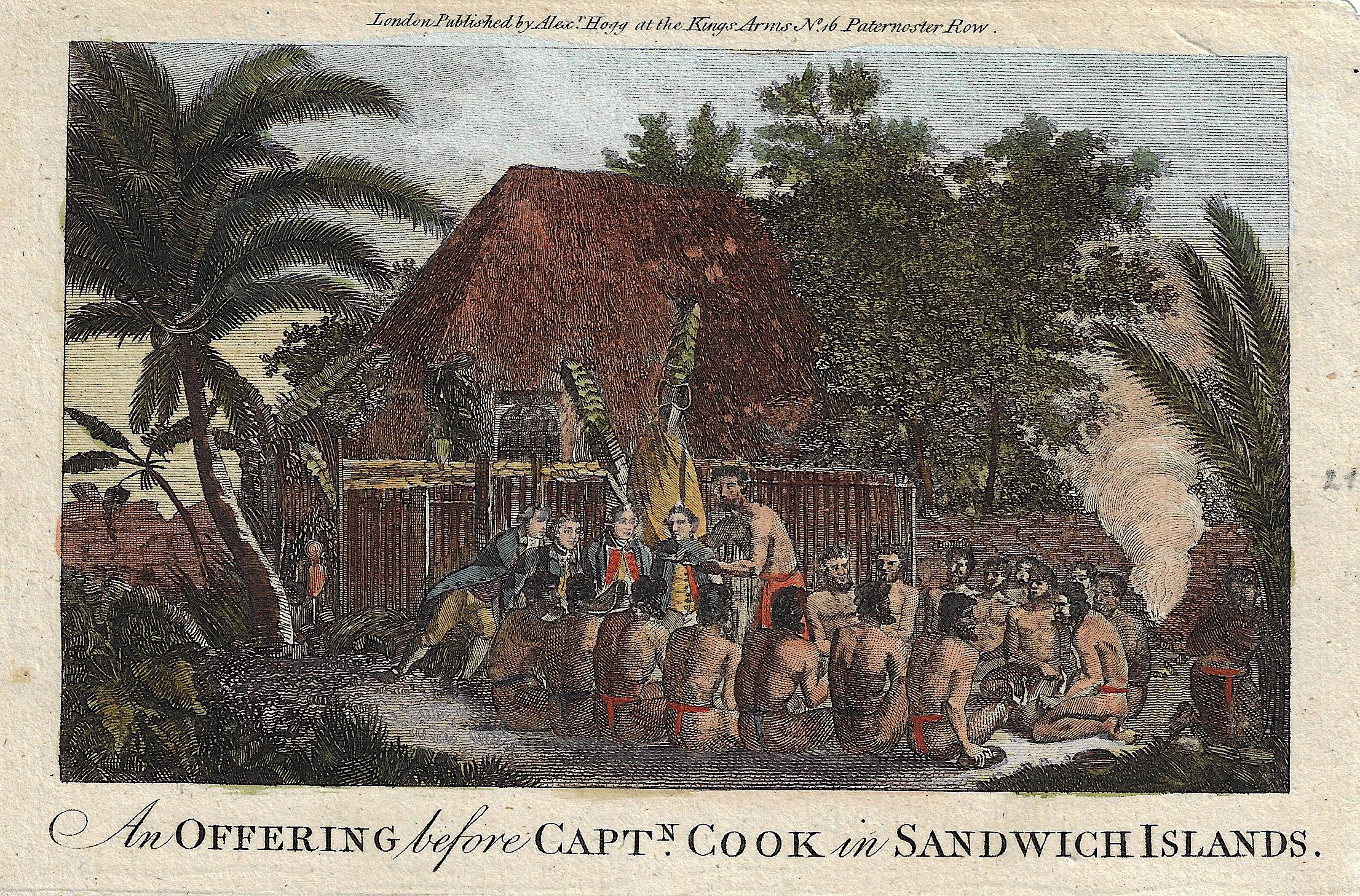 Hogg Alexander An Offering before Captn. Cook, in Sandwich Islands.