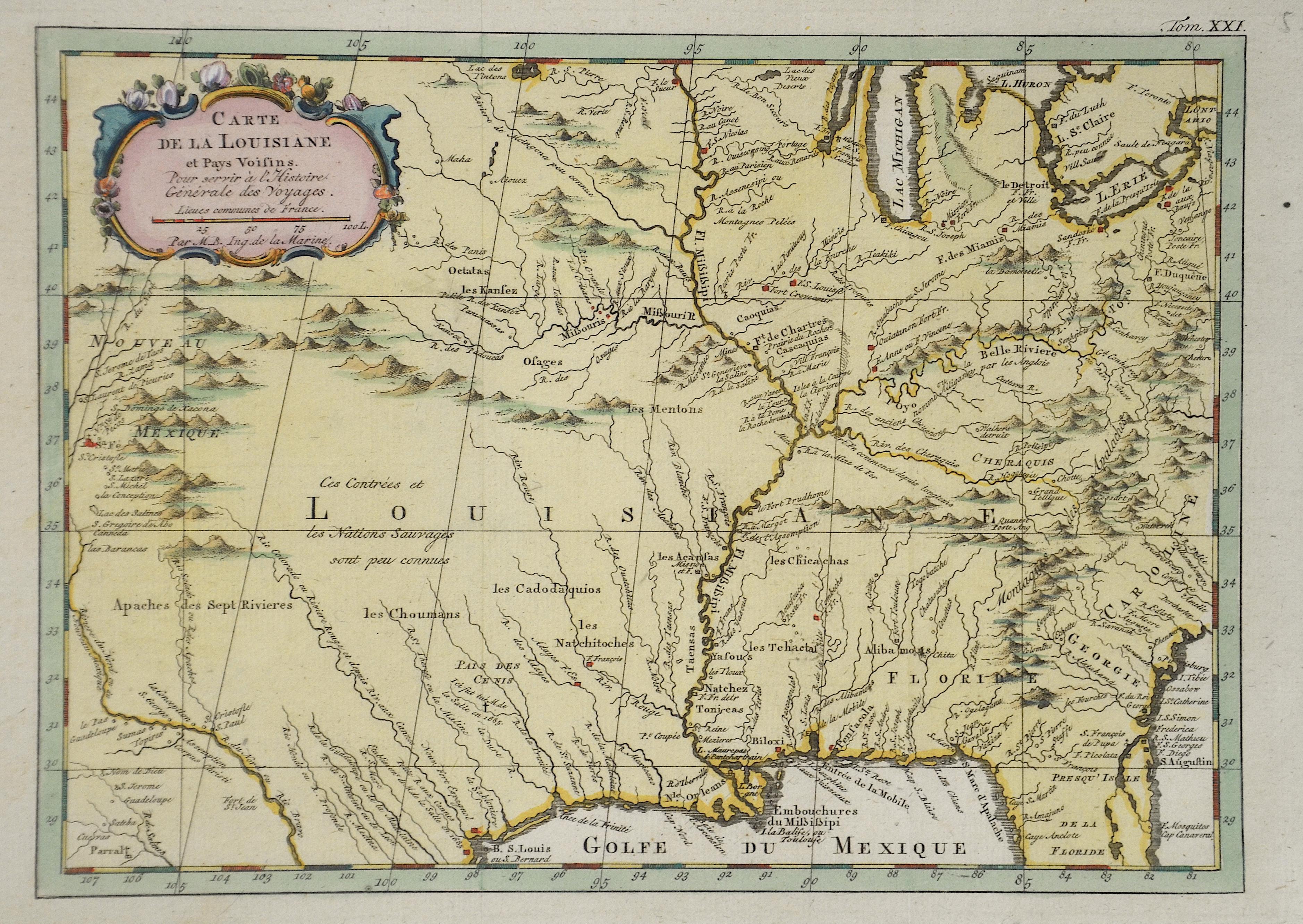 Bellin Jacques Nicolas Carte da la Louisiane et Pays Voisins