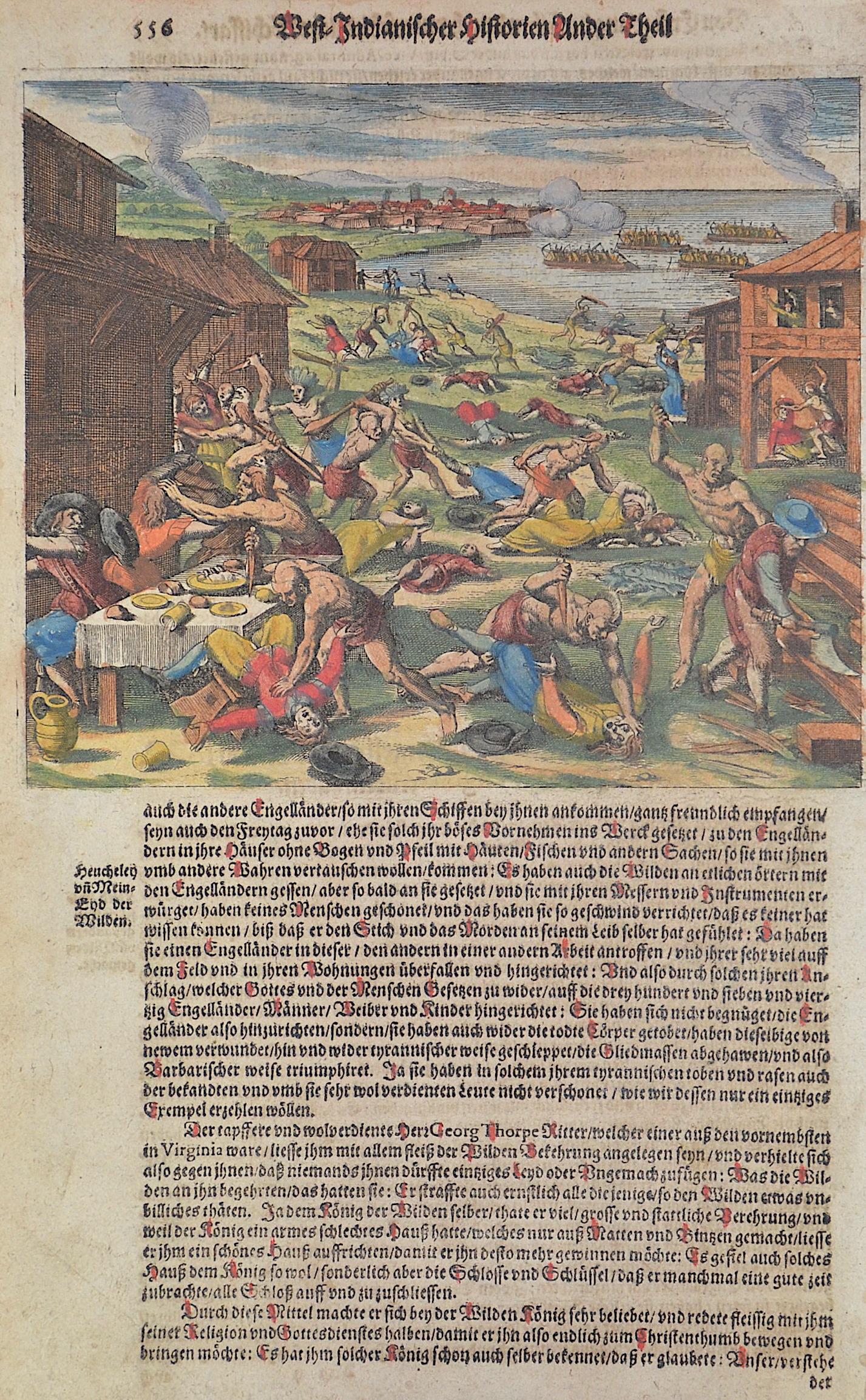 Bry, de  West-Indianischer Historien Ander Theil 556 / Von der grossen Niderlag so die Engelländer Anno 1622 den 22. Martij in Virginia erlidten haben.