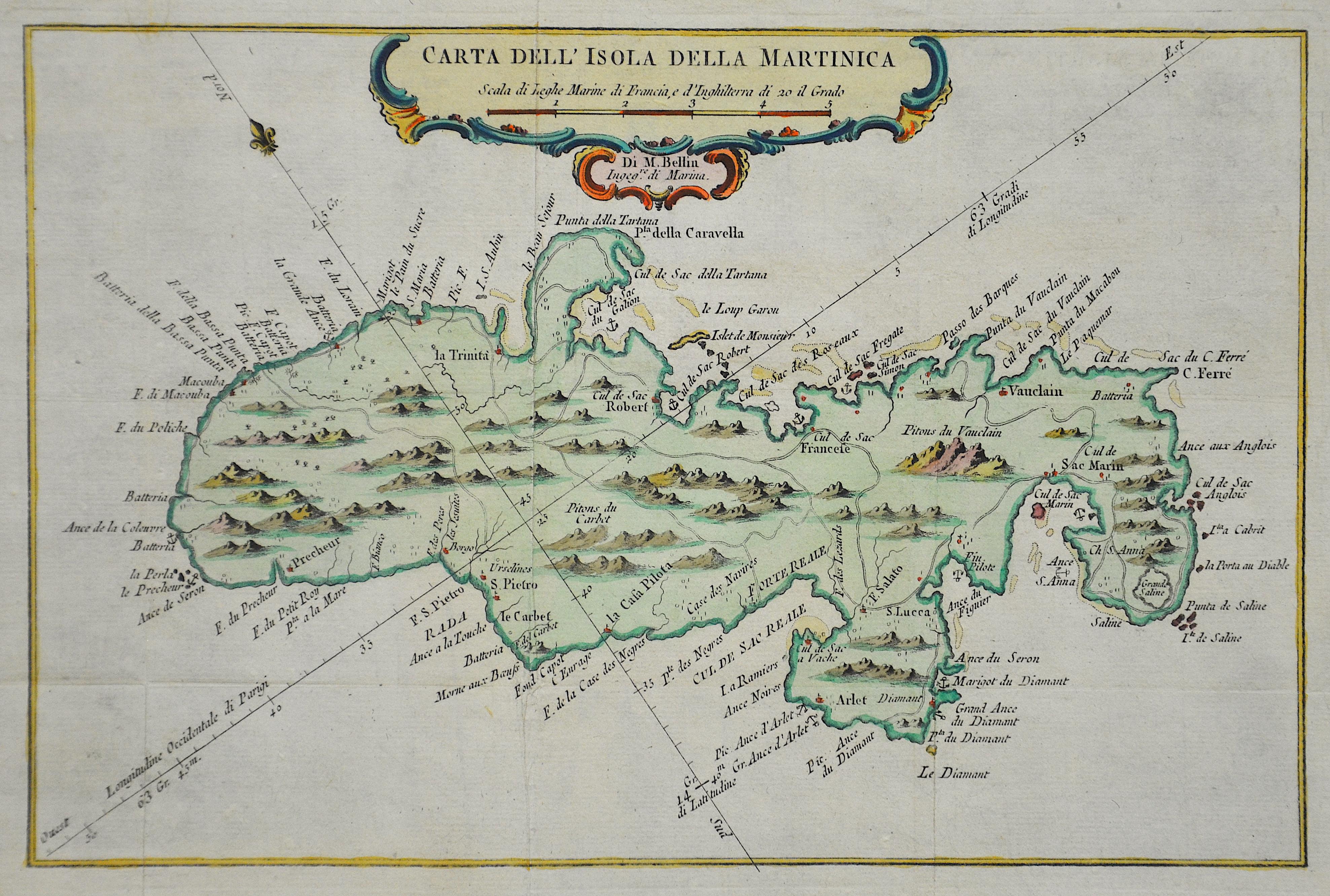 Bellin  Carta dell ´Isola della Martinica