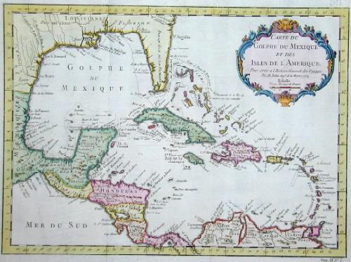 Bellin  Carte du Golphe du Mexique et des isles de l´Amerique