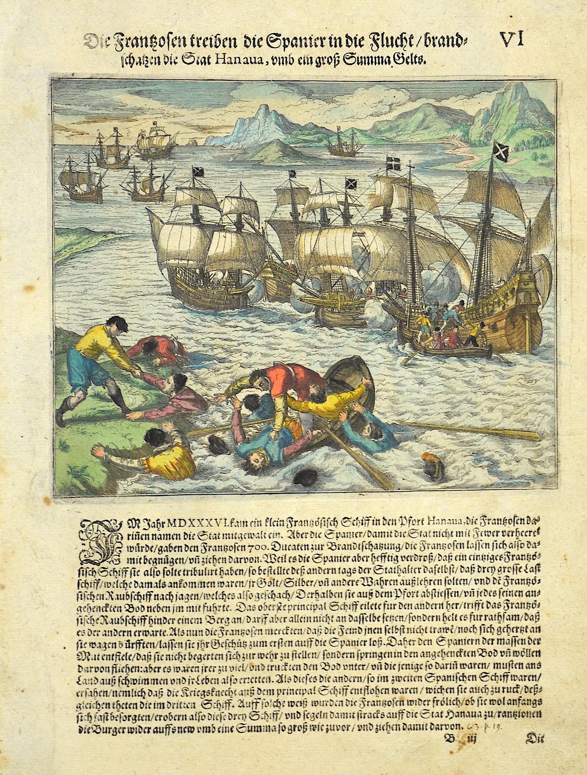 Bry, de  Galli Hispanos fugant, et urbem Hanava magna pecuniae summa mulctant.