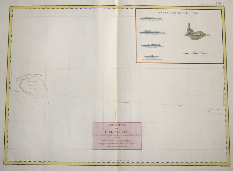 Pérouse, la  Carte Plate de l'Ile Necker