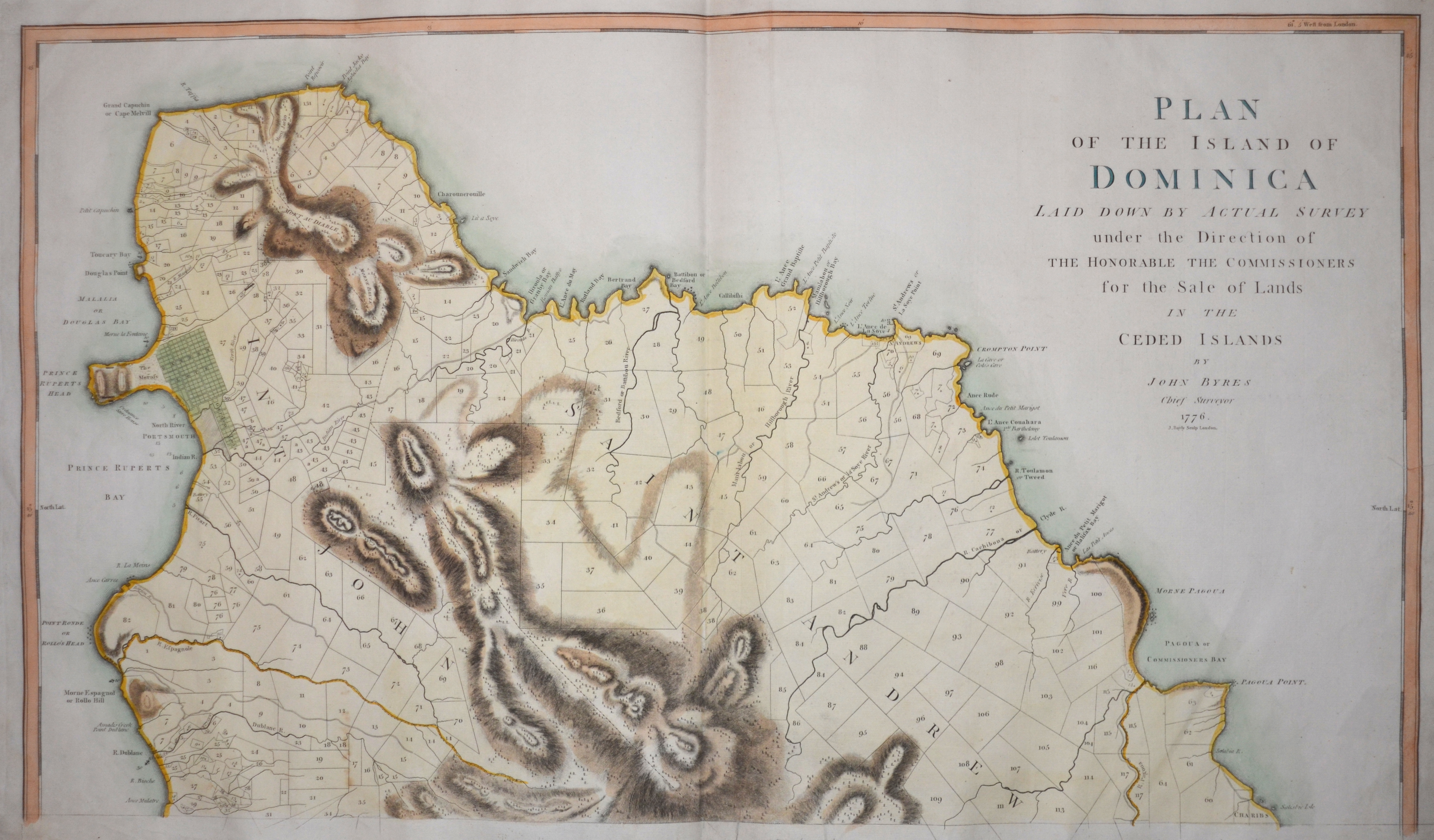 Bylly J. Plan of the Island of Dominica. Laid down by actual survey under the Direction of the honorable the commissioners for the Sale of Lands in the Ceded