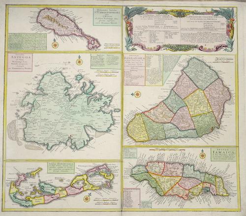 Homann Erben  Die Englische Colonie-Länder. Auf den Inseln von America…