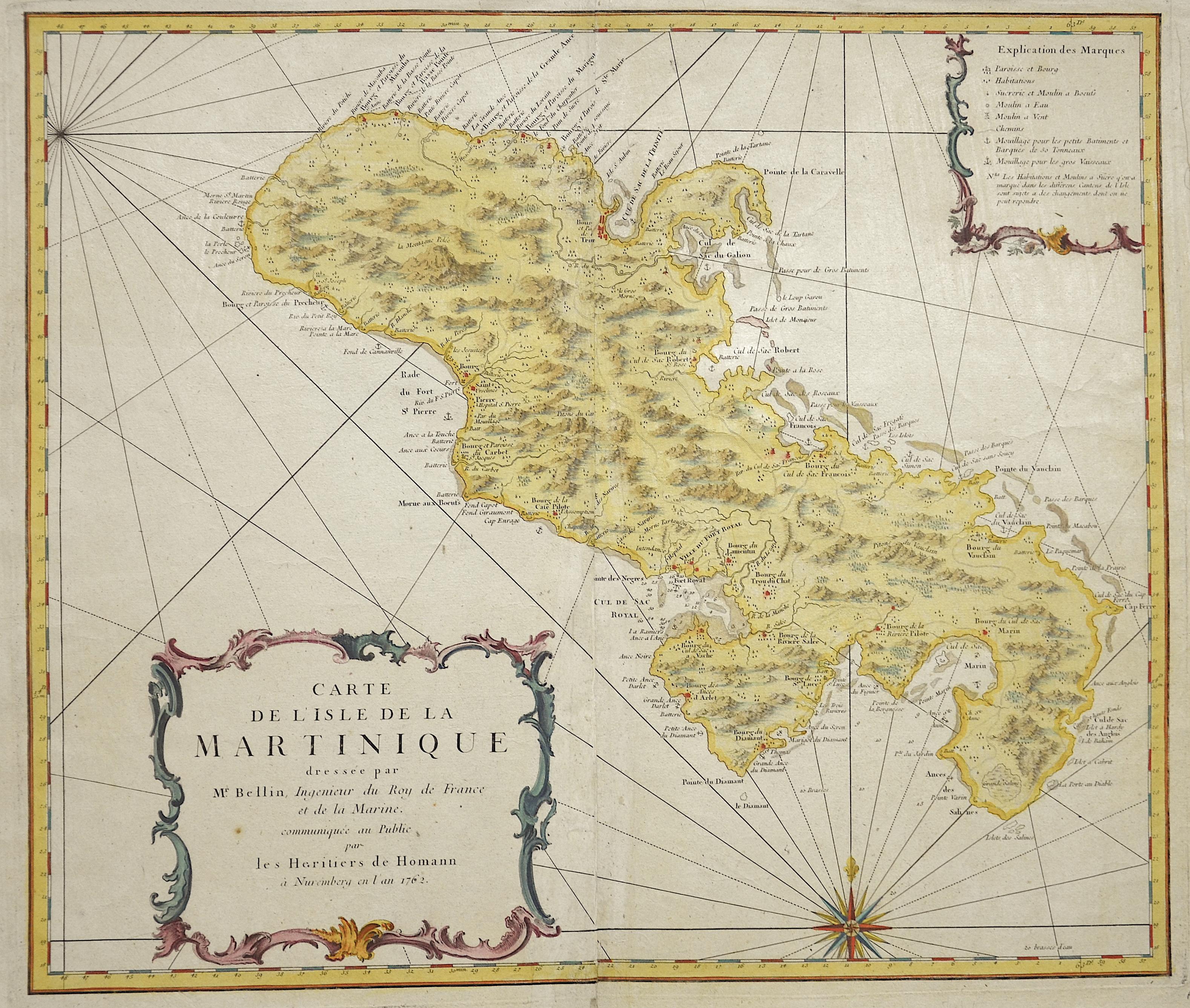 Homann Erben  Carte de l' Isle de la Martinique