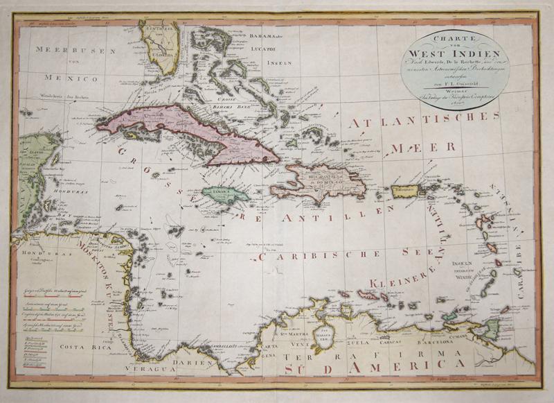 Güssefeld  Charte von West Indien nach Edwards…