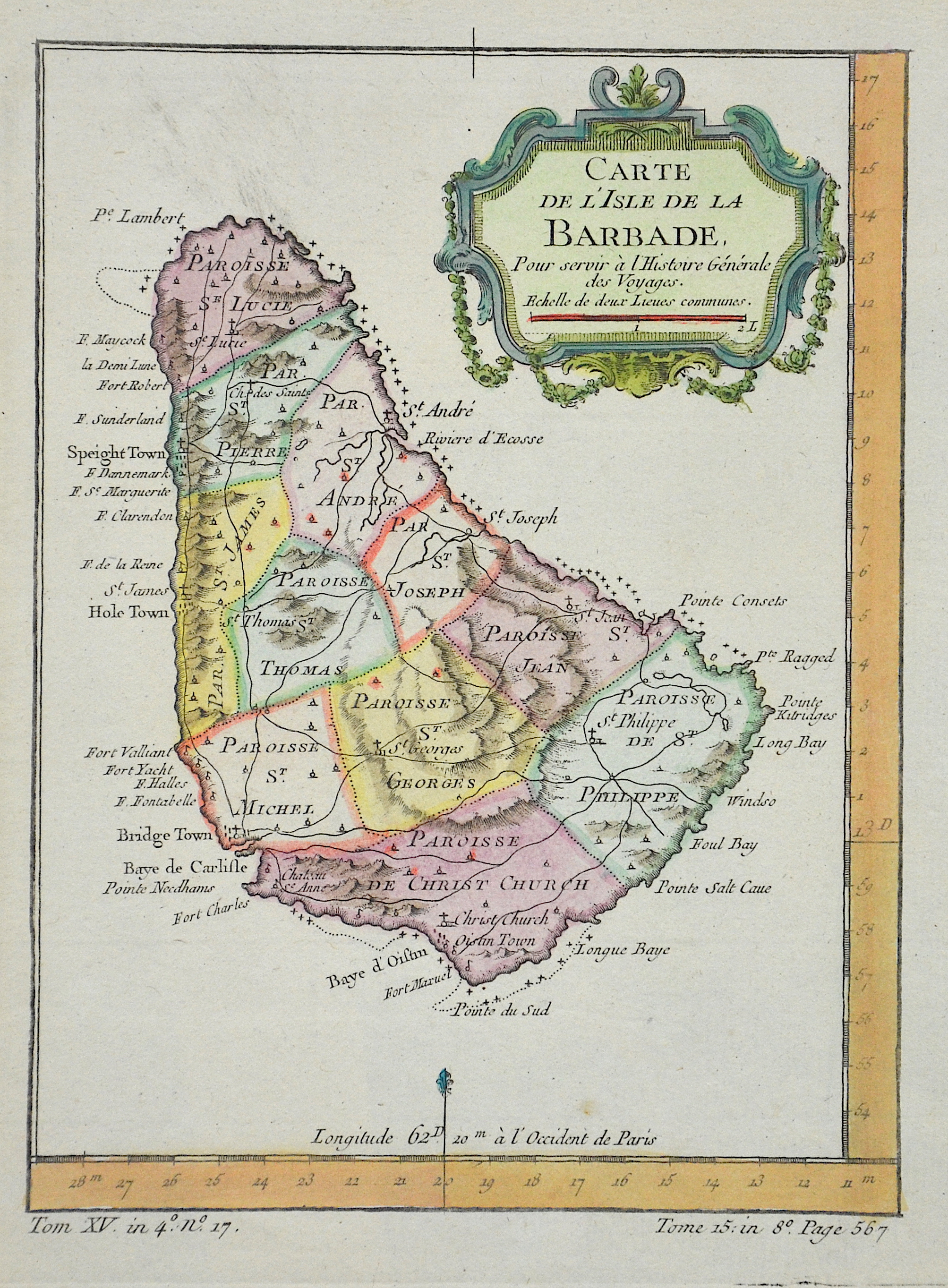 Bonne  Carte de l`isle de la Barbade