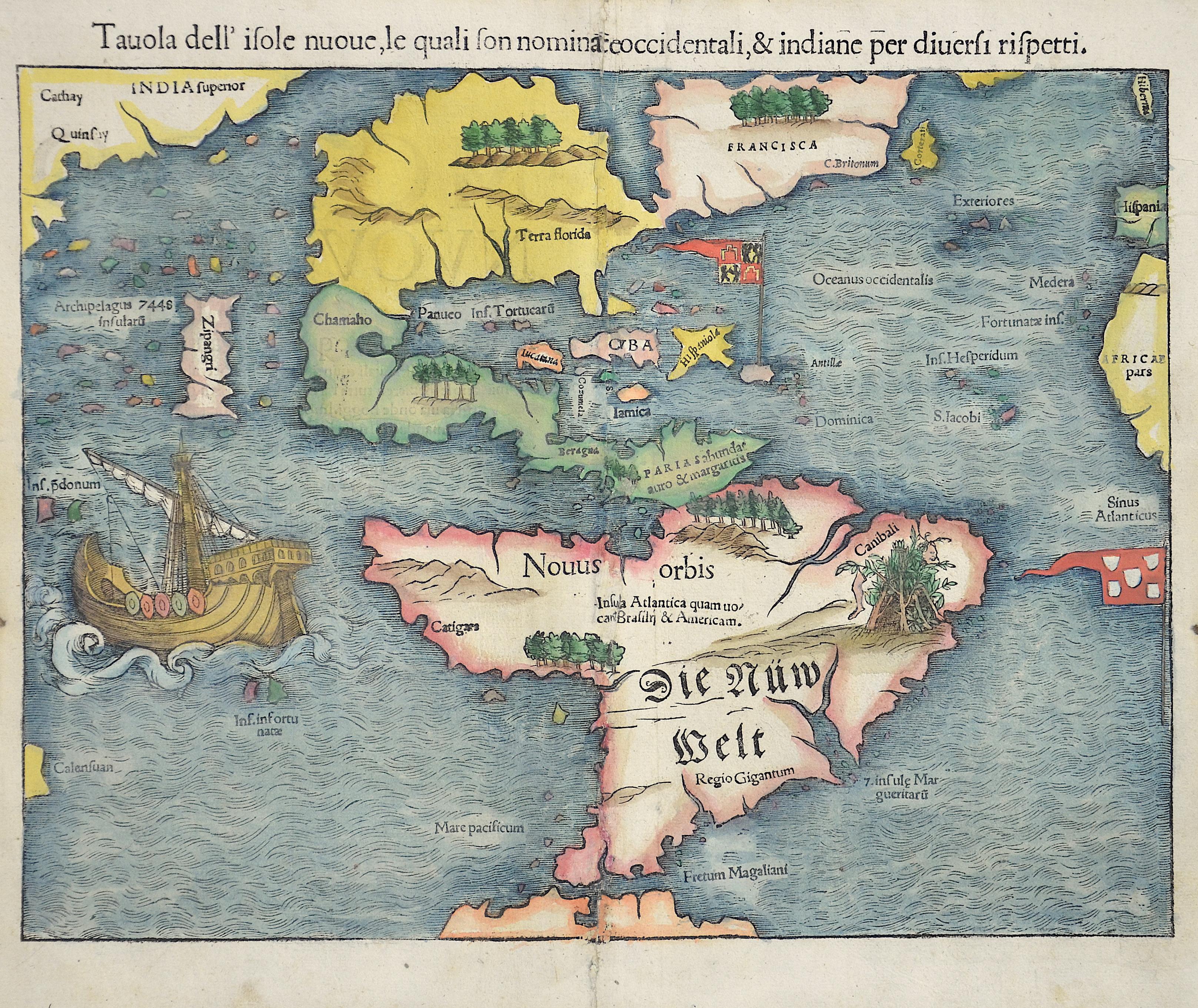 Münster  Die newen Inseln so hinder Hispania gegen Orient bey dem Landt Indie gelegen