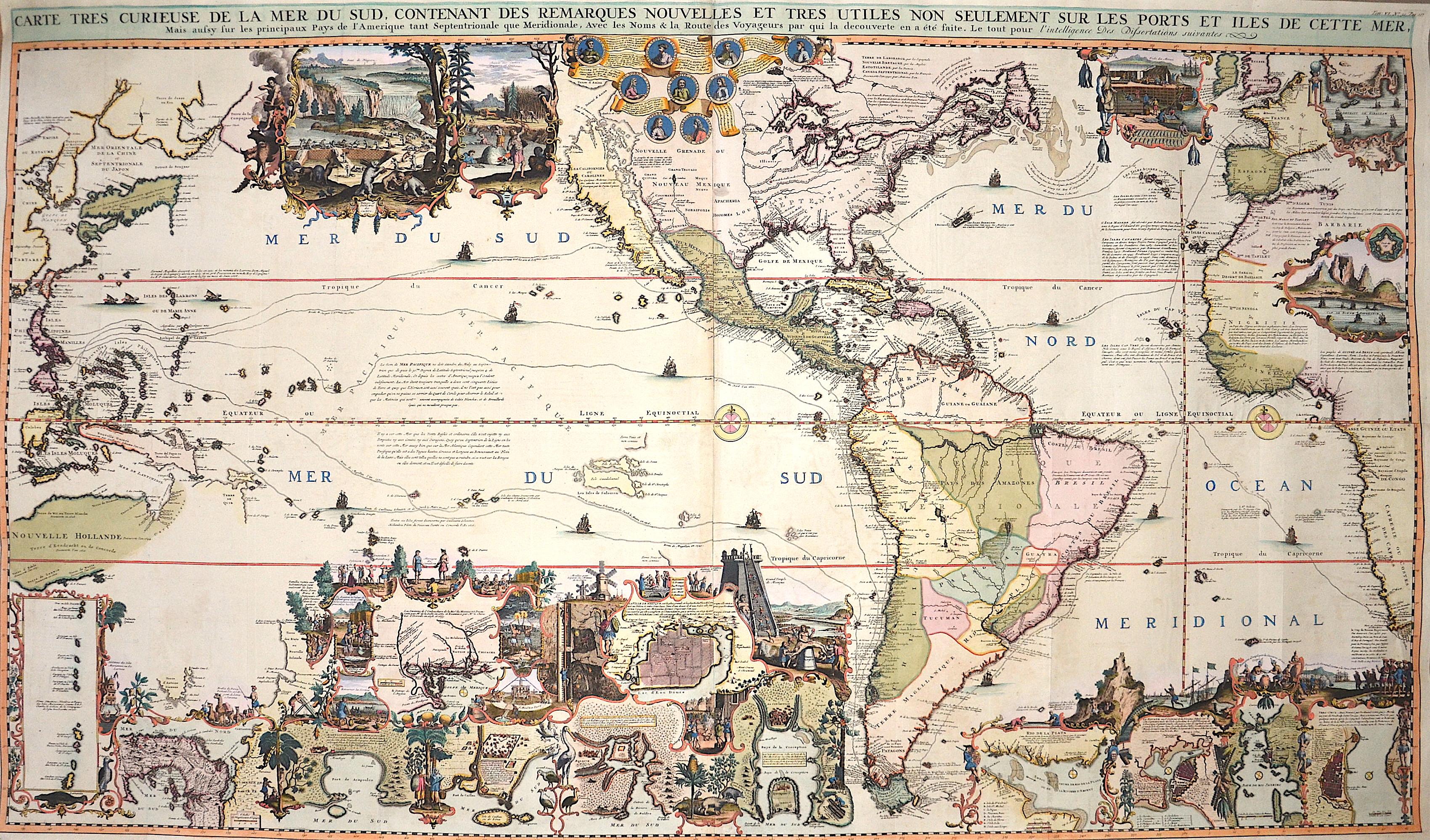 Chatelain Henri Abraham Carte tres curieuse de la Mer du sud, contenant des remarques nouvelles et tres utiles non seulement sur les ports et illes de cette mer, …..