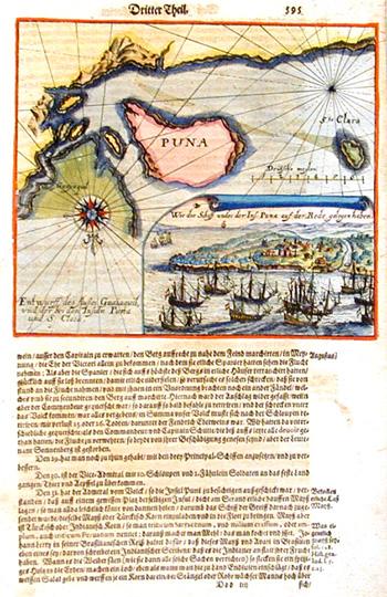 Bry, de Johann Israel & Johann Theodor Wie die schiff under der Ins. Puna auf der Rede gelegen haben