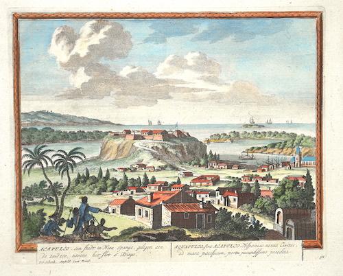 Schenk  Acapulco, cen Stadt in Nieu Spanige, gelegen aen de zuidzee, newens het flotS. Diego/Aquapulco sive Accapulco Hispanieae novae civitas..