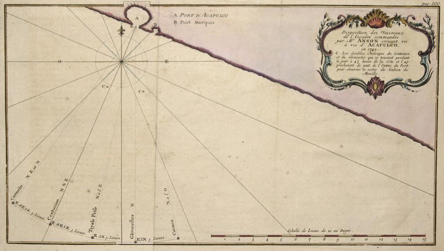Anson Georg Disposition des Vaisseaux de l'Escadre commandee par Mr. Anson croisant. Vis a vis d' Acapulco, en 1742.