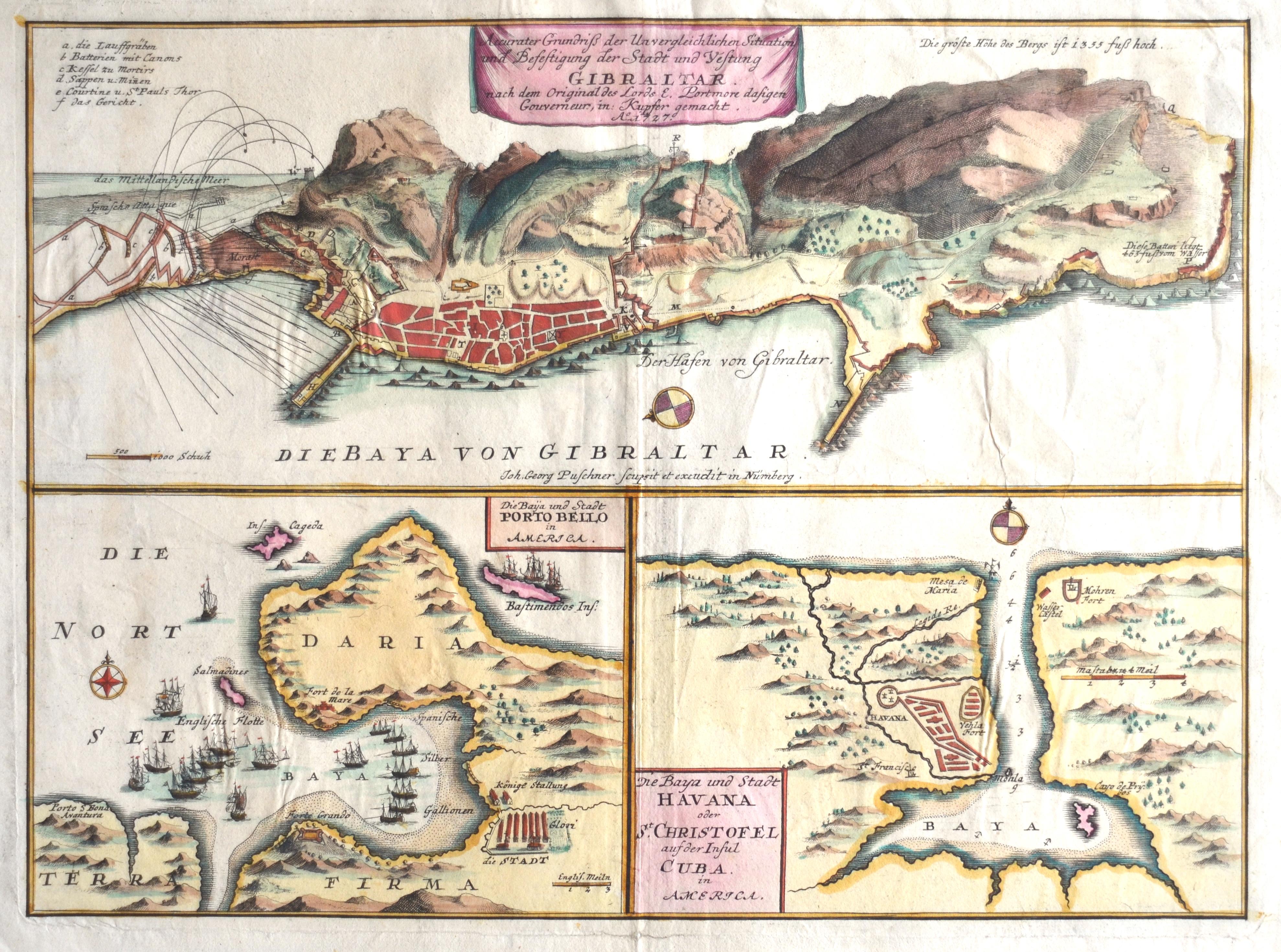 Puschner  Die Baija und Stadt Porto Bello in America. Die Baya und Stadt Havana oder St. Christofel auf der Insul Cuba. Accurater Grundriß . . . Gibraltar.