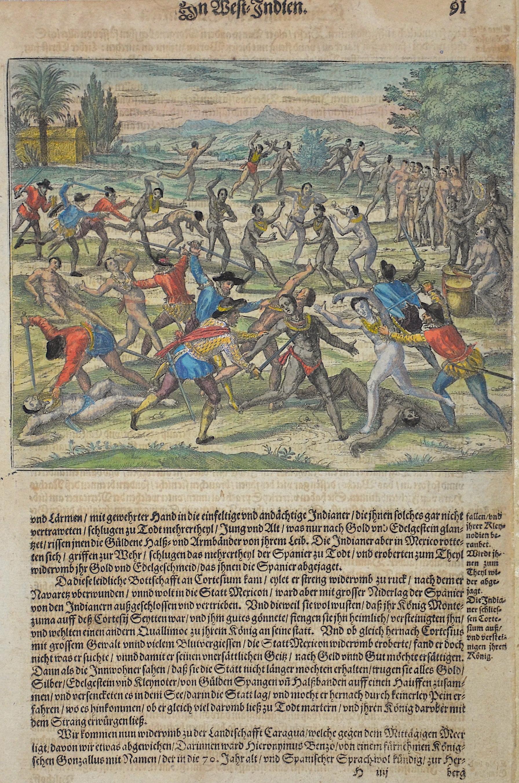 Bry, de  Petrus Aluaradus lässet in abwesen deß Cortesii die Indianer zu Mexico / als sie ihr Fest hielten / mit blosen Wehren uberfallen und erwürgen /