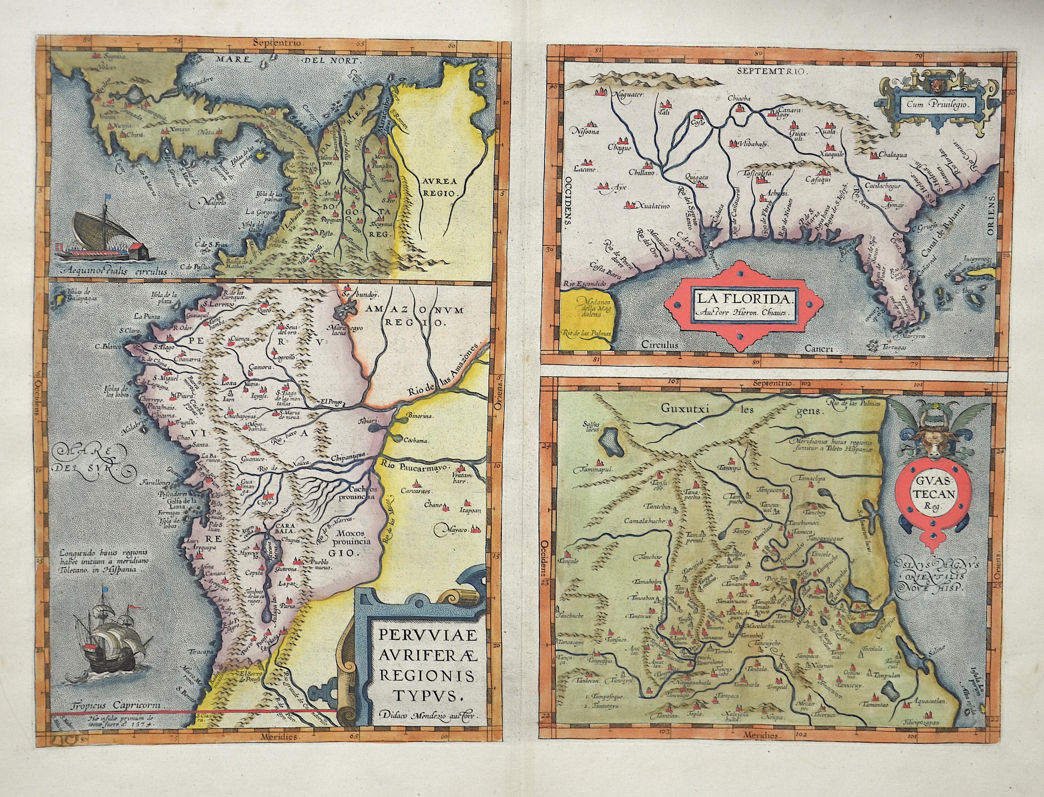 """Ortelius  Peruiae"""", """"La Florida"""" & """"Guastecan"""