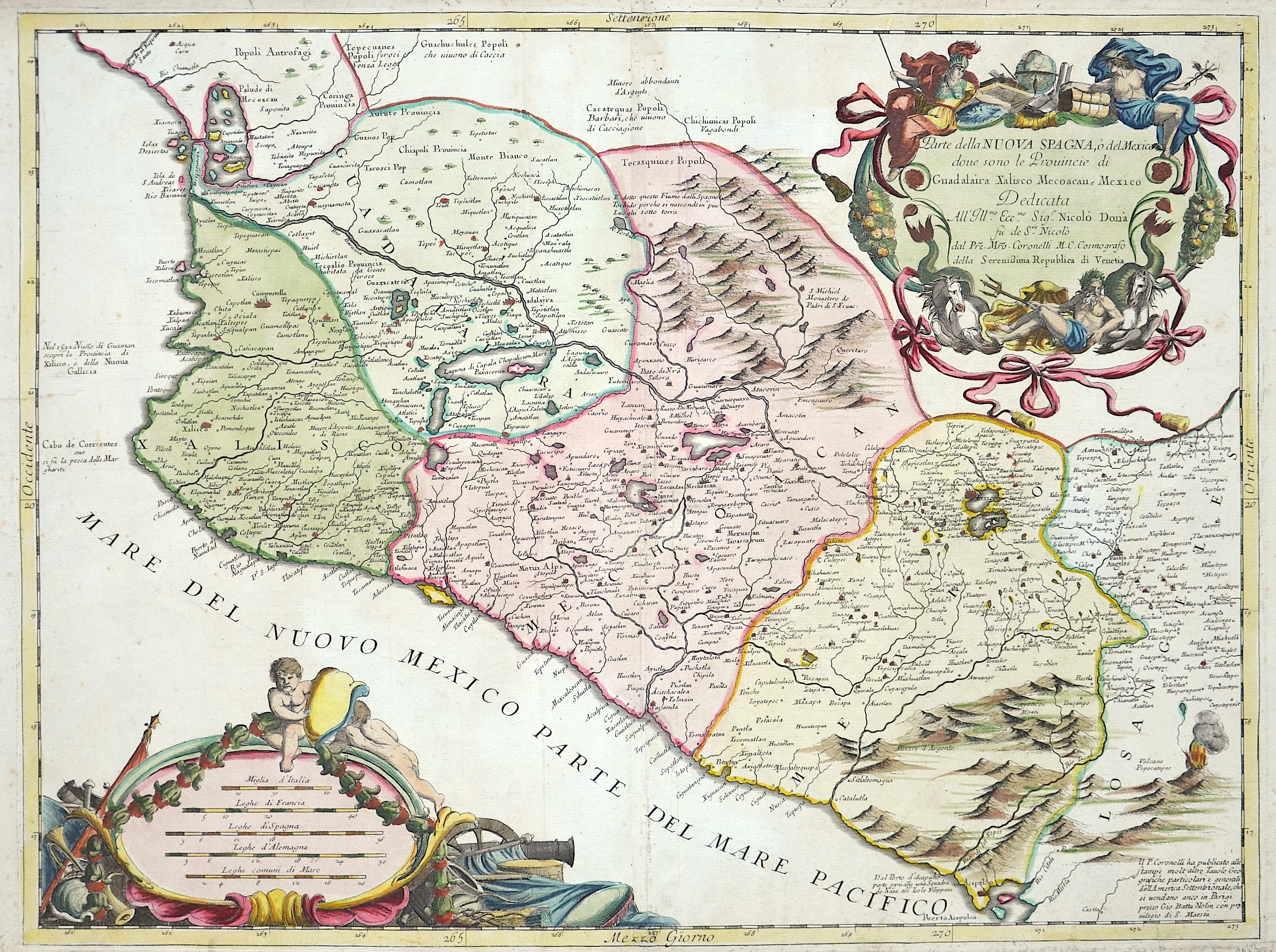 Coronelli  Parte dela nouva Spagna, o´del Mexico doue sono le Provincie di Gudalaira xalisco mecoacan, Mexico dedicata