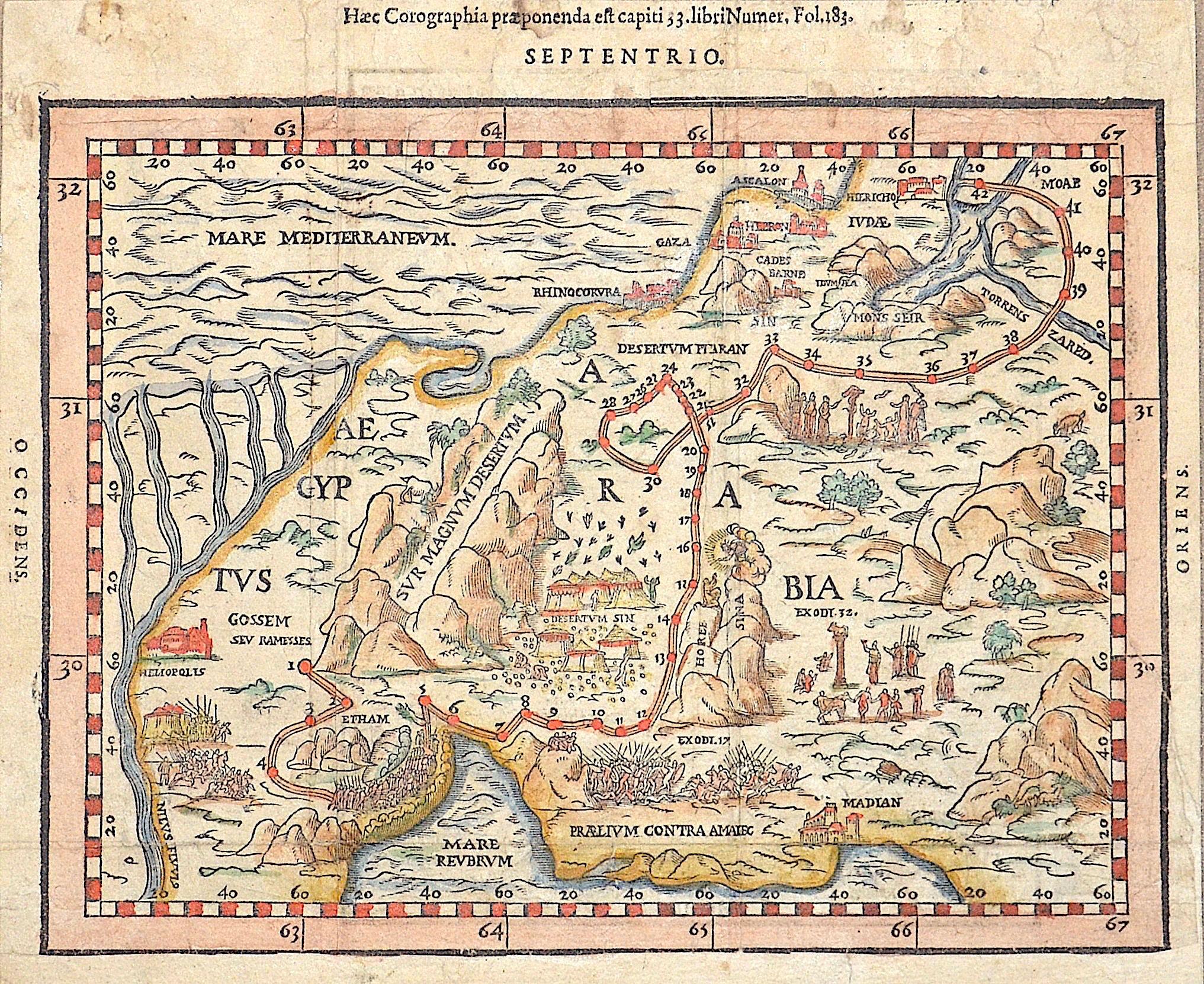 Guarinus  Haec Corographia praeponenda est capiti 33. Libri Numer, Fol. 183