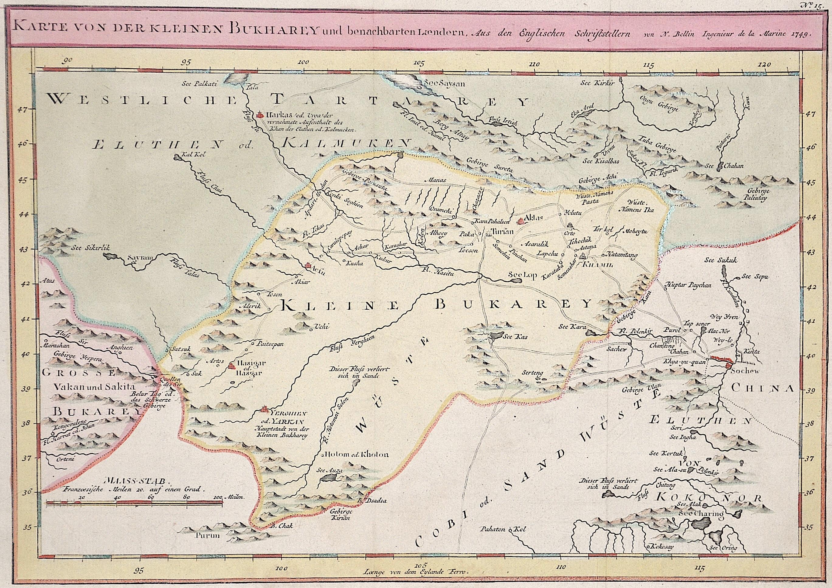 Bellin Jacques Nicolas Karte von der kleinen Bukharey und benachbarten Laendern