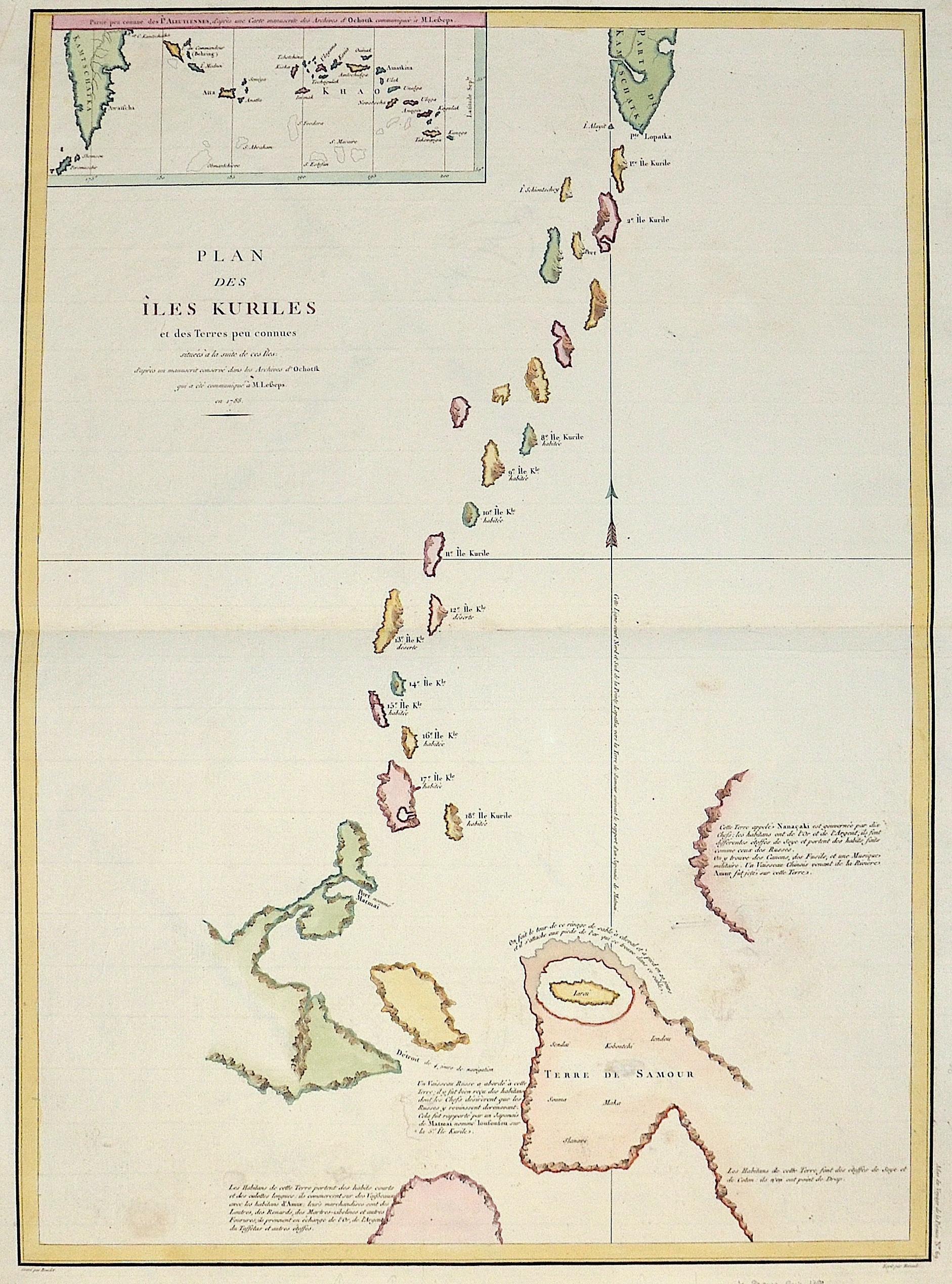 Pérouse, la  Plan des Isle Kurilles et des Terres peu connues…